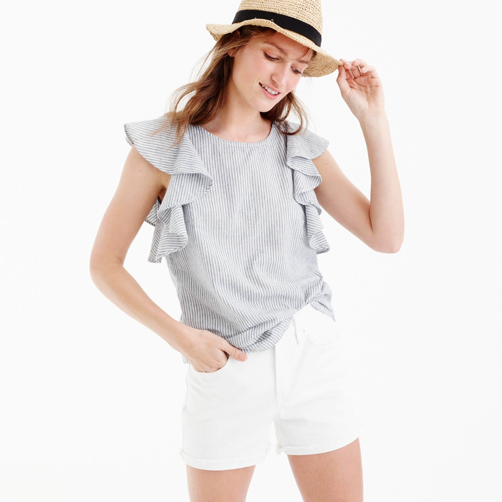 Image 1 for Petite ruffle top in stripe