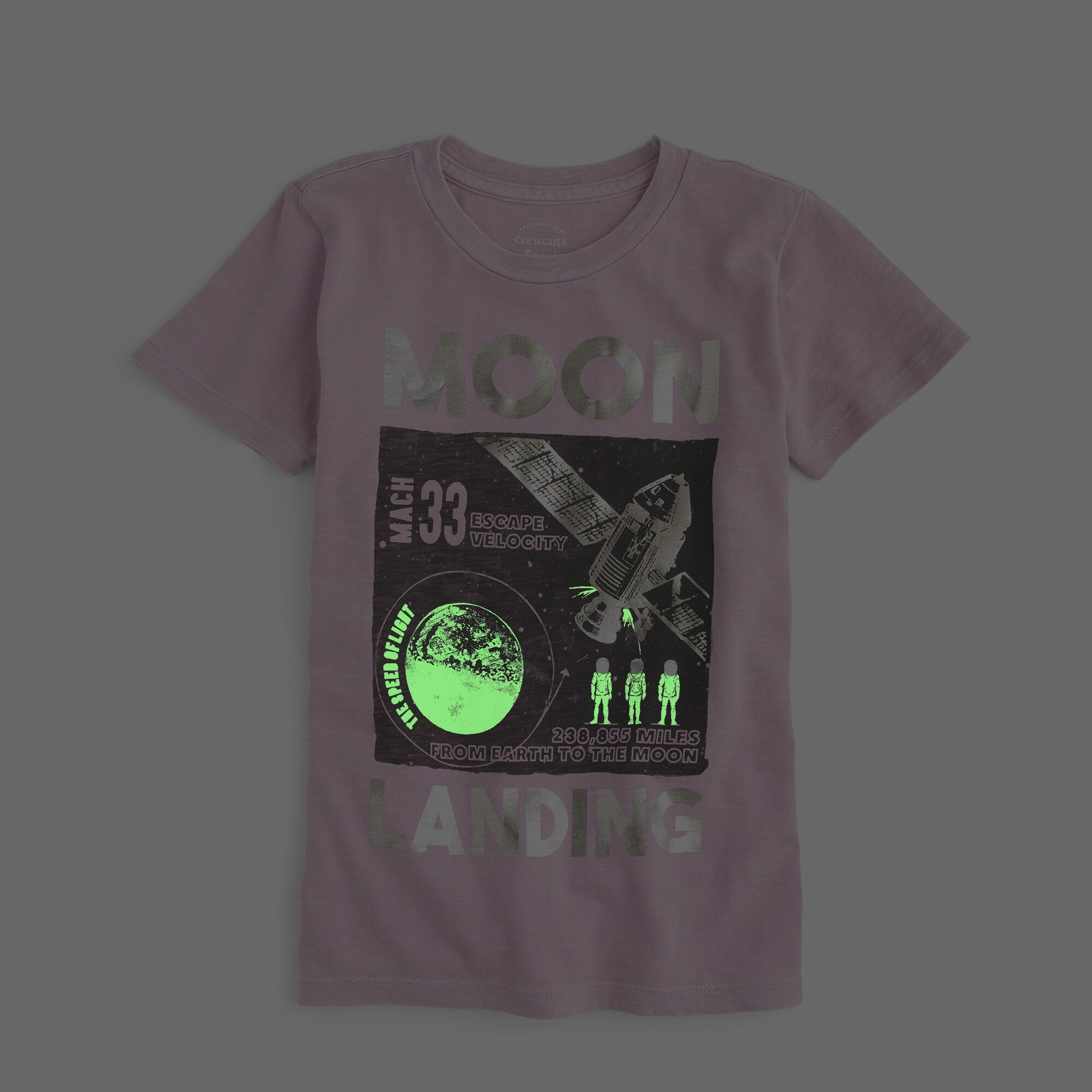 Image 2 for Boys' glow-in-the-dark garment dyed moon mission T-shirt