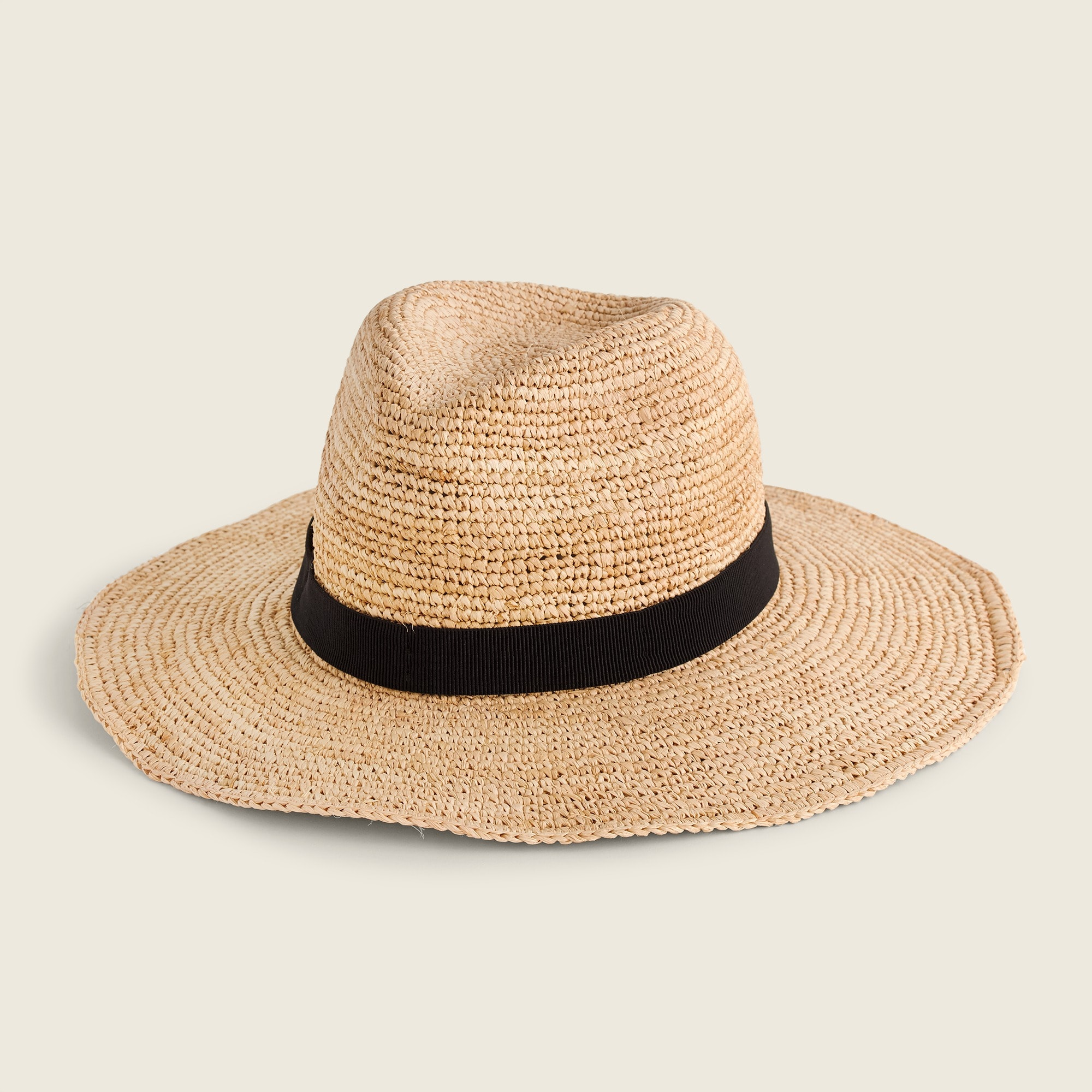 Wide-brim packable straw hat