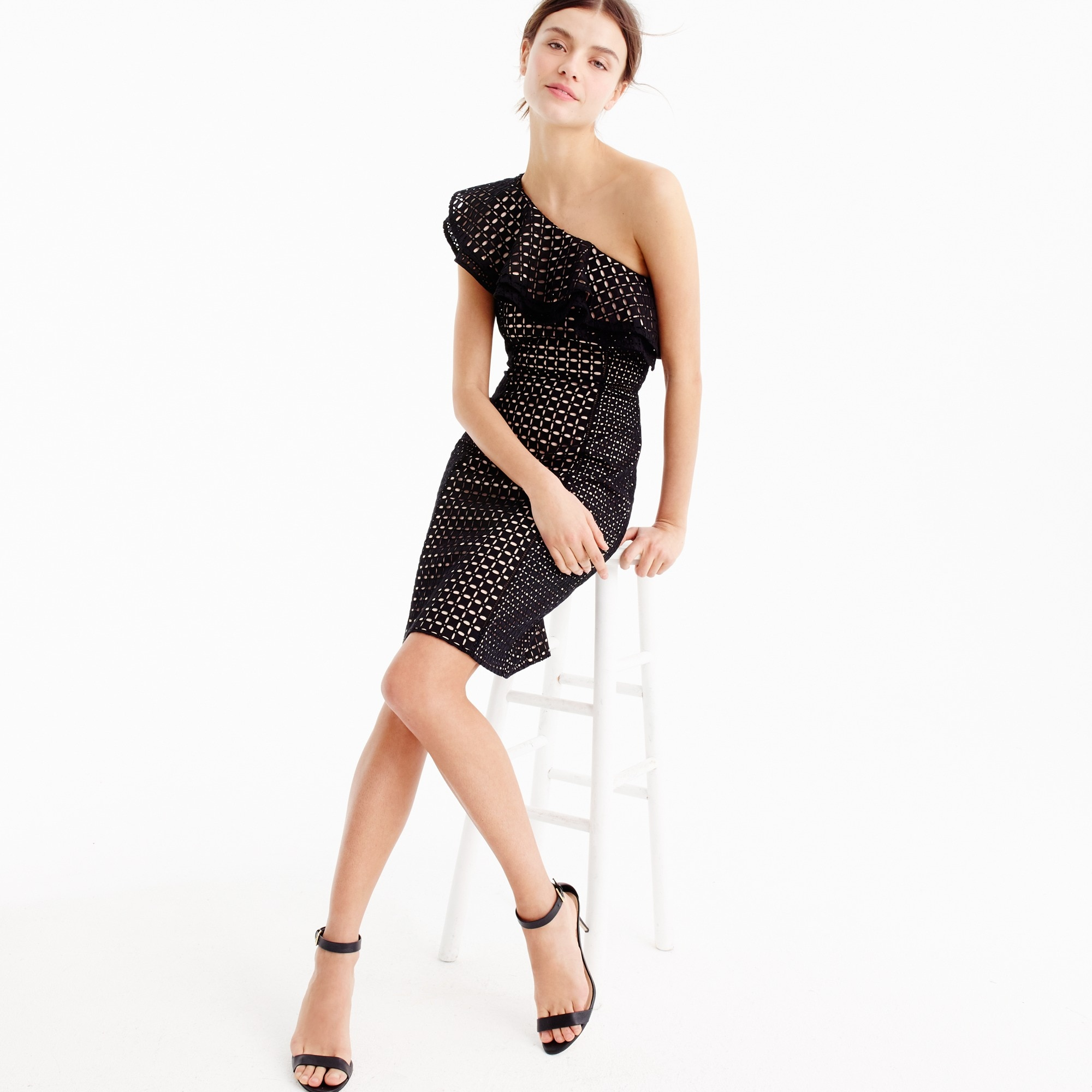 Petite one-shoulder dress in eyelet