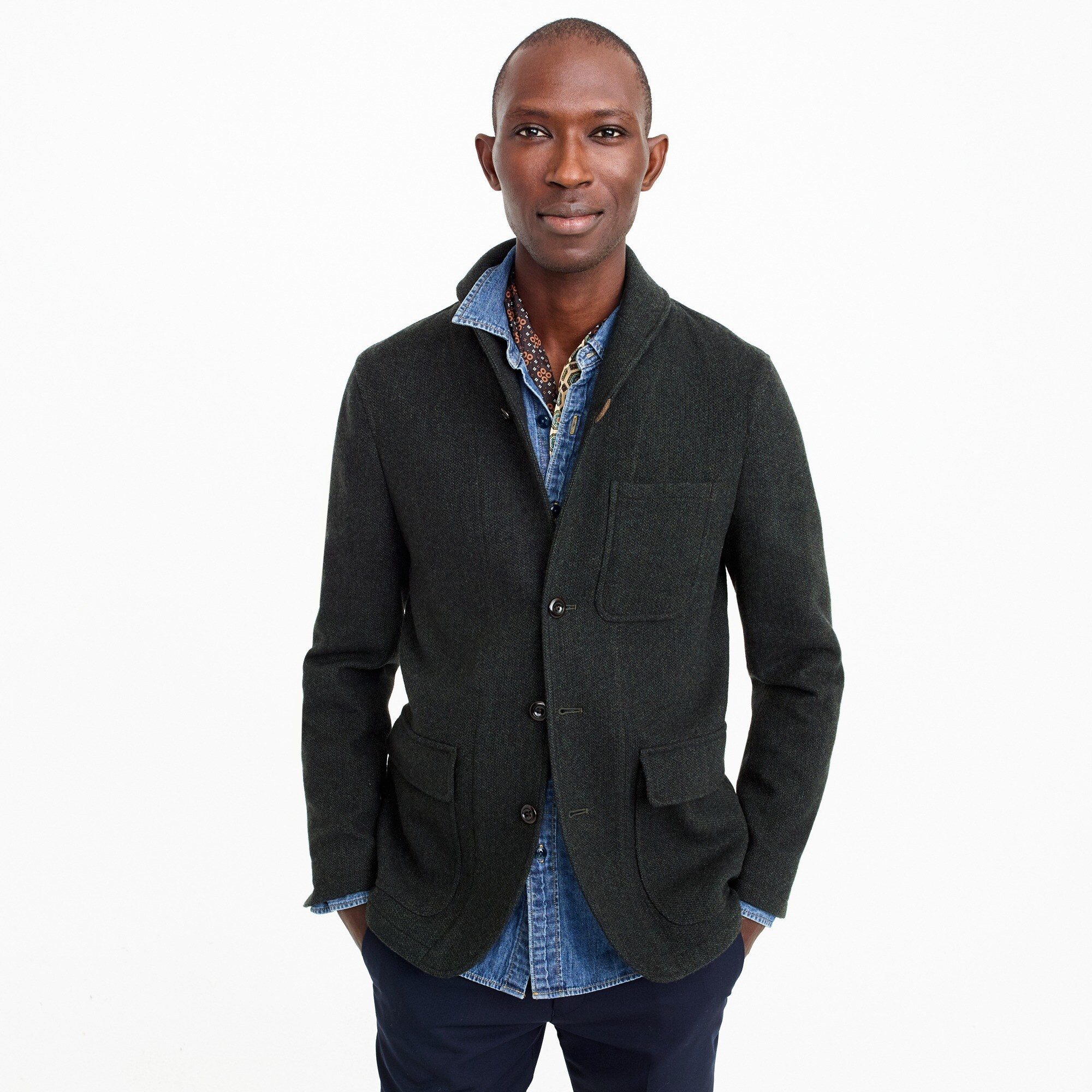 Unstructured shawl-collar workwear jacket in English wool