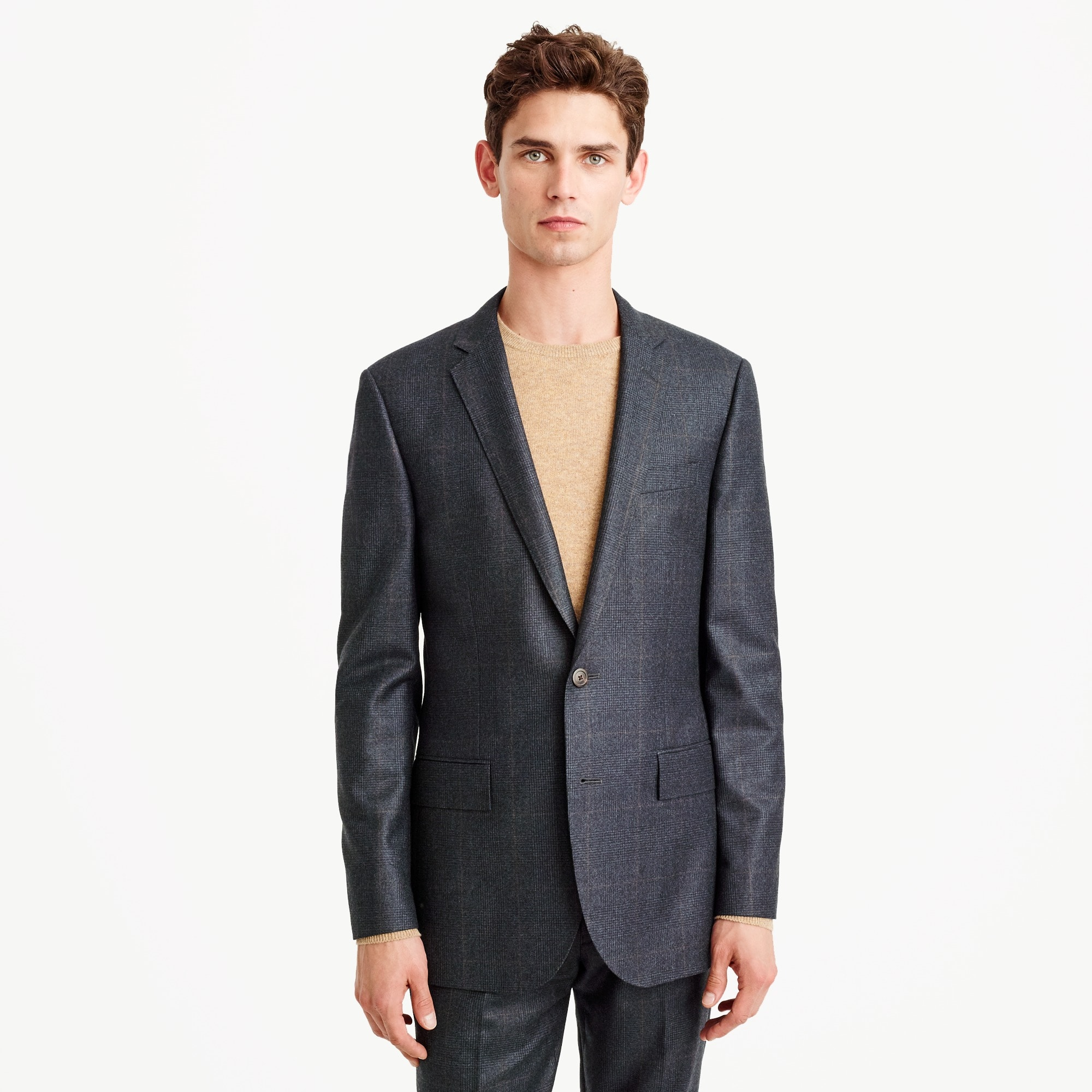 Ludlow slim suit jacket in Italian glen-plaid wool