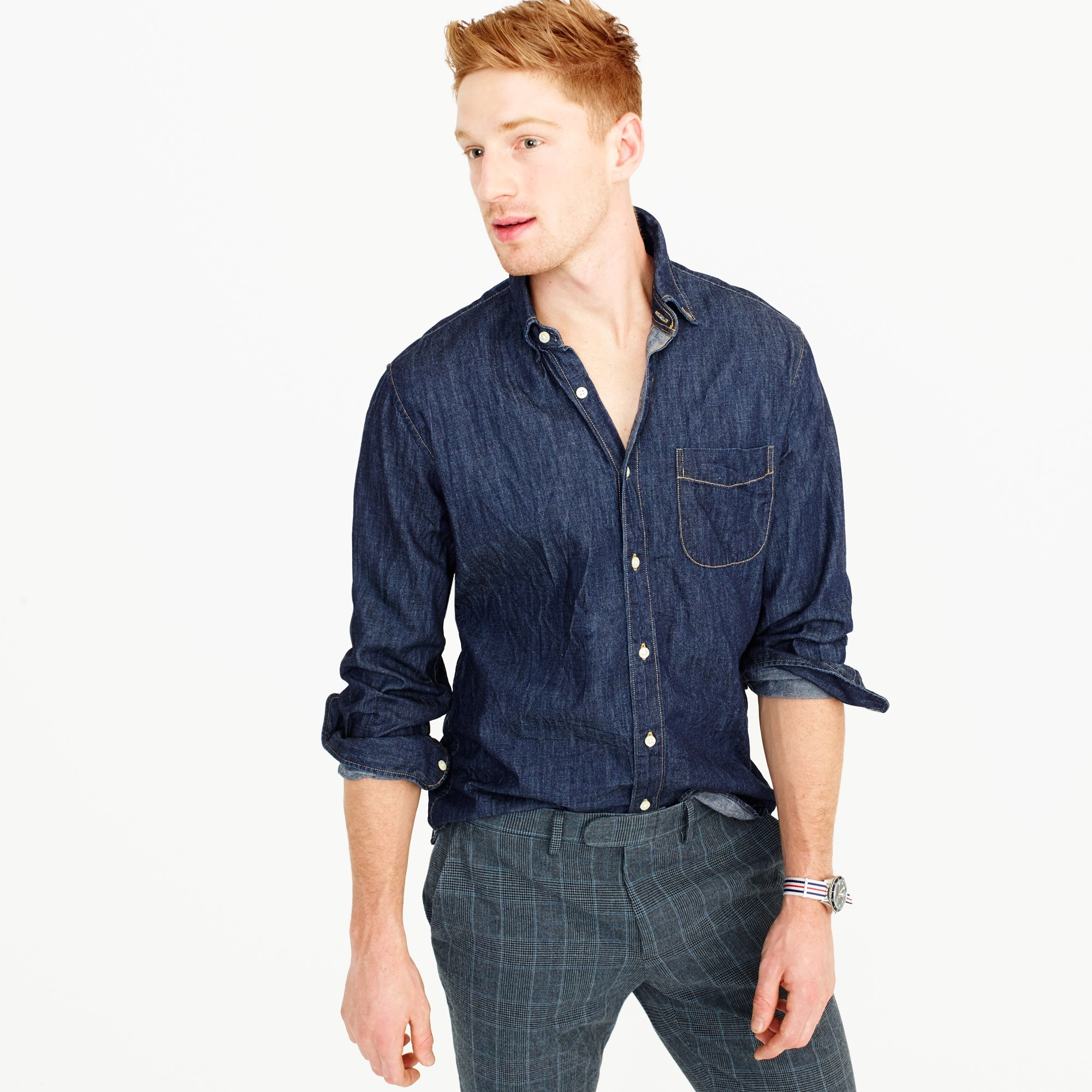 mens Slim lightweight denim shirt in dark wash
