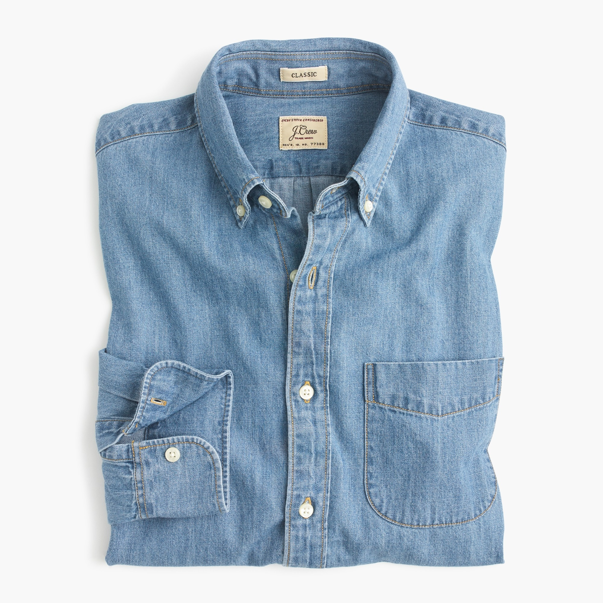 mens Slim lightweight denim shirt in light wash