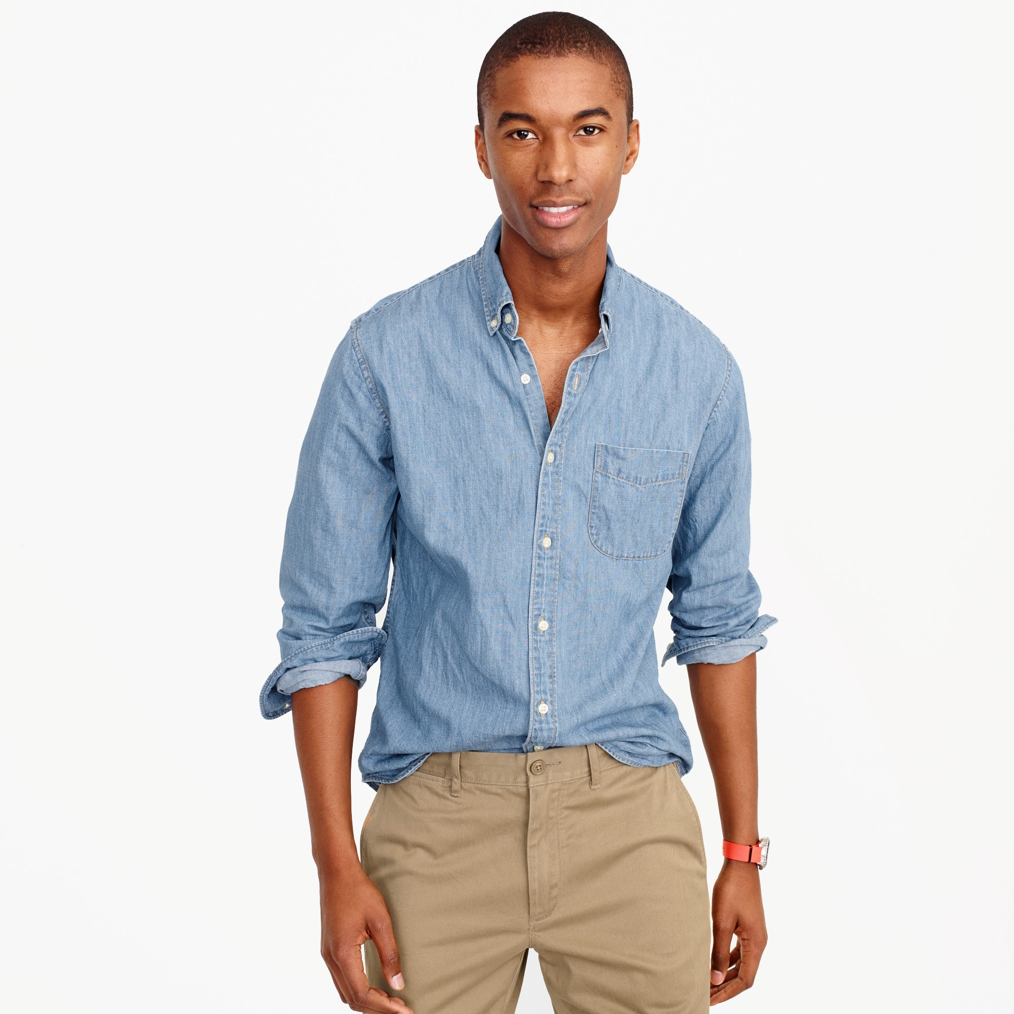mens Lightweight denim shirt in light wash