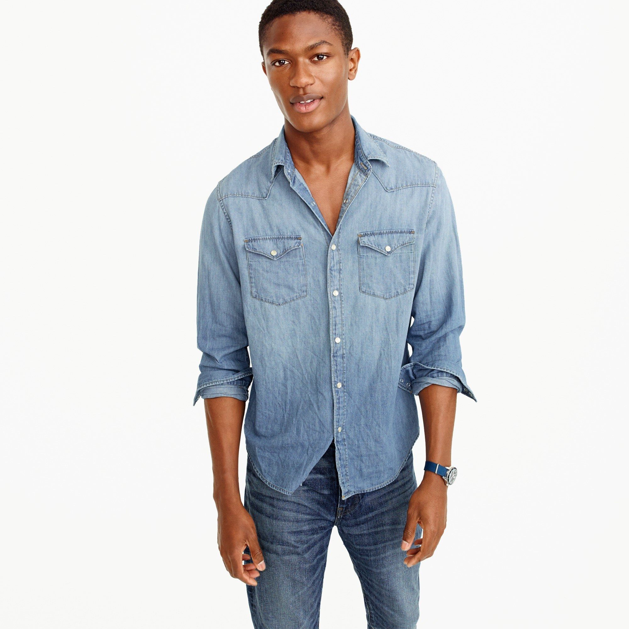 mens Lightweight denim Western shirt