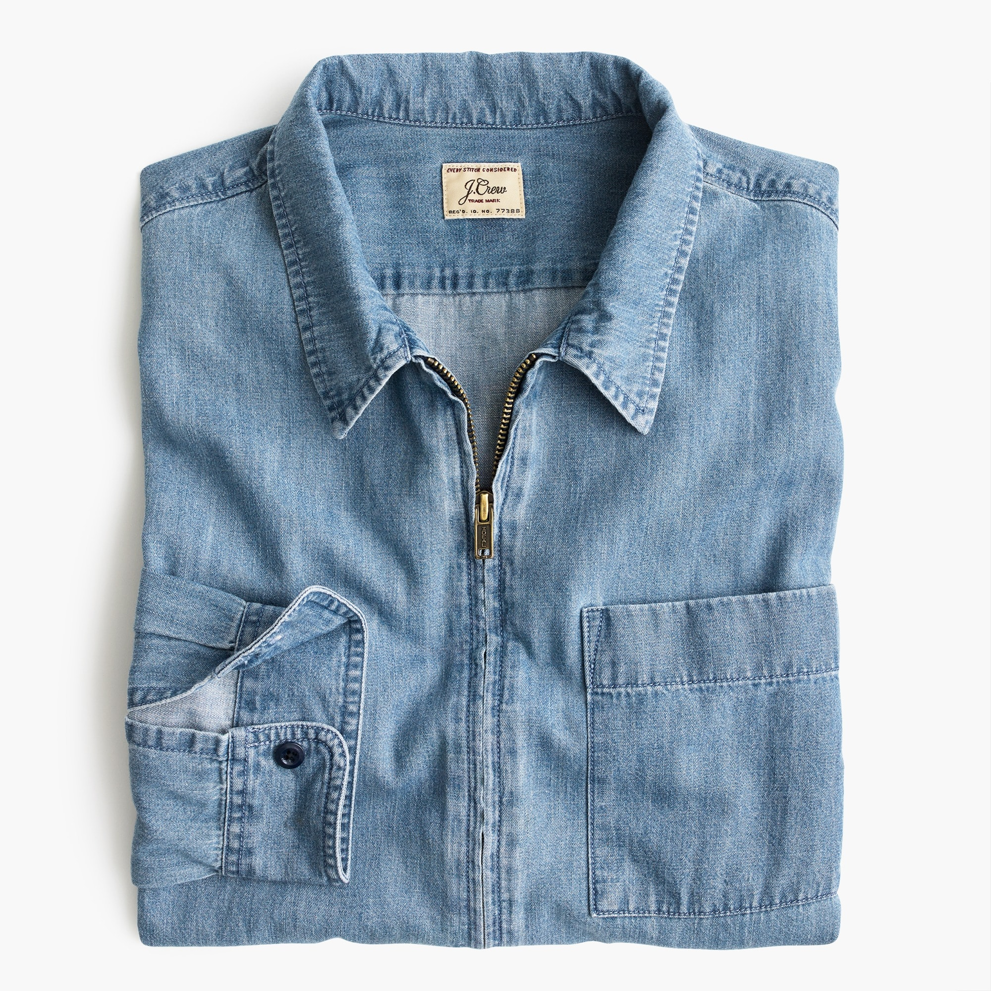 Lightweight denim zip-front overshirt
