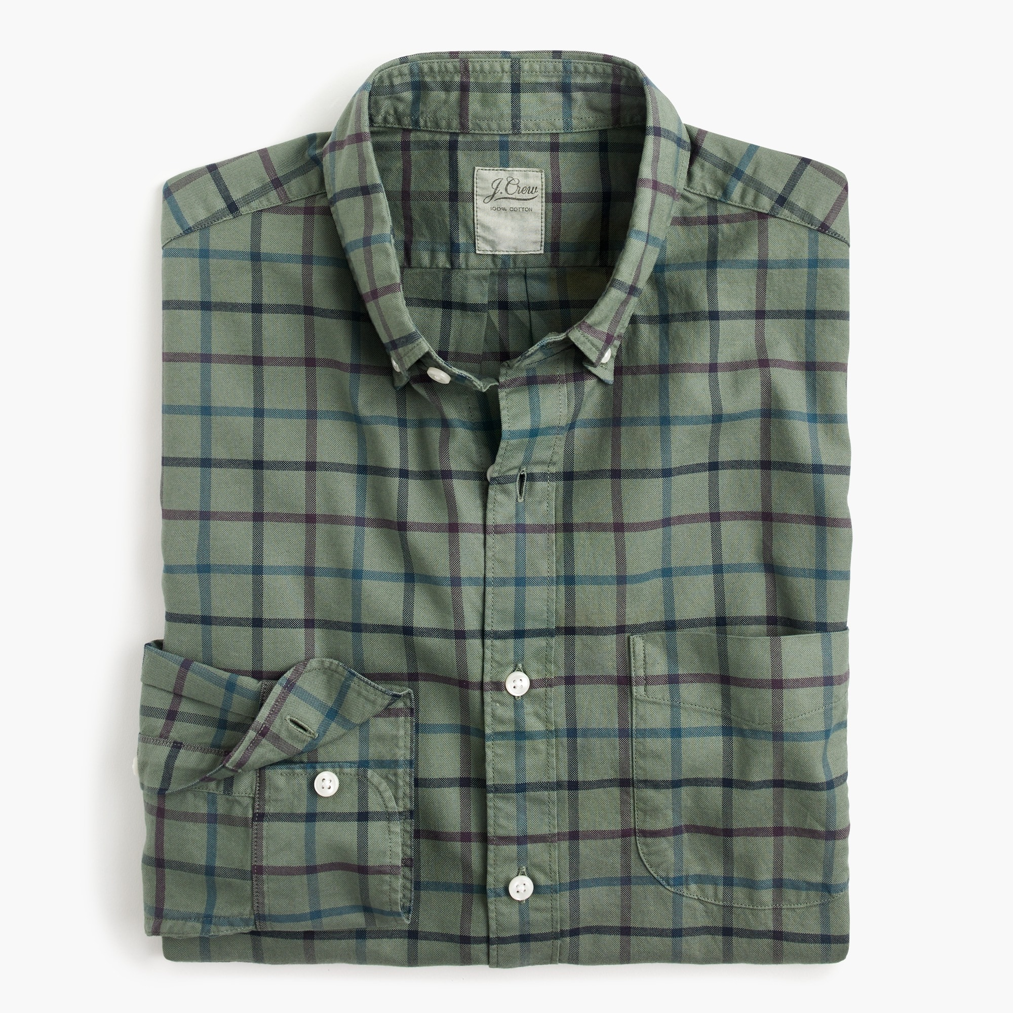 slim overdyed oxford shirt in check : men oxford