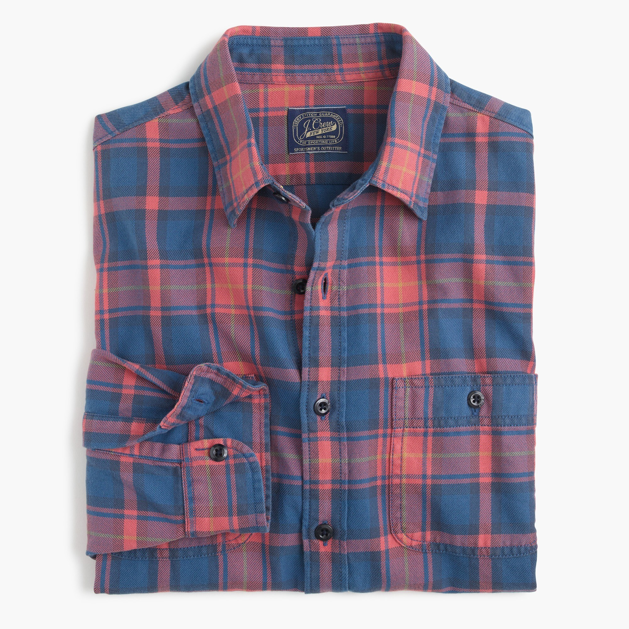Midweight flannel shirt in red and blue plaid