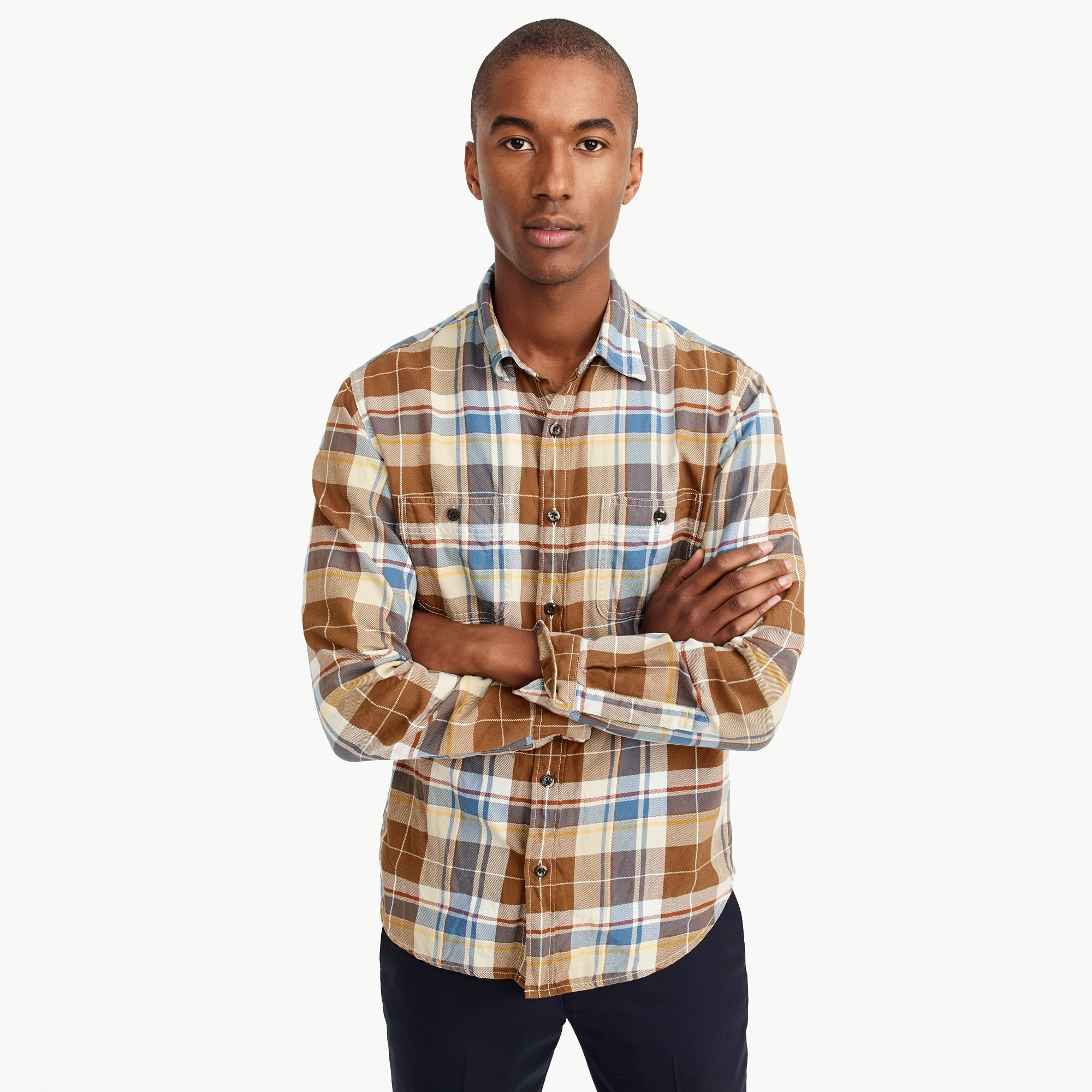 Midweight flannel shirt in large plaid men casual shirts c