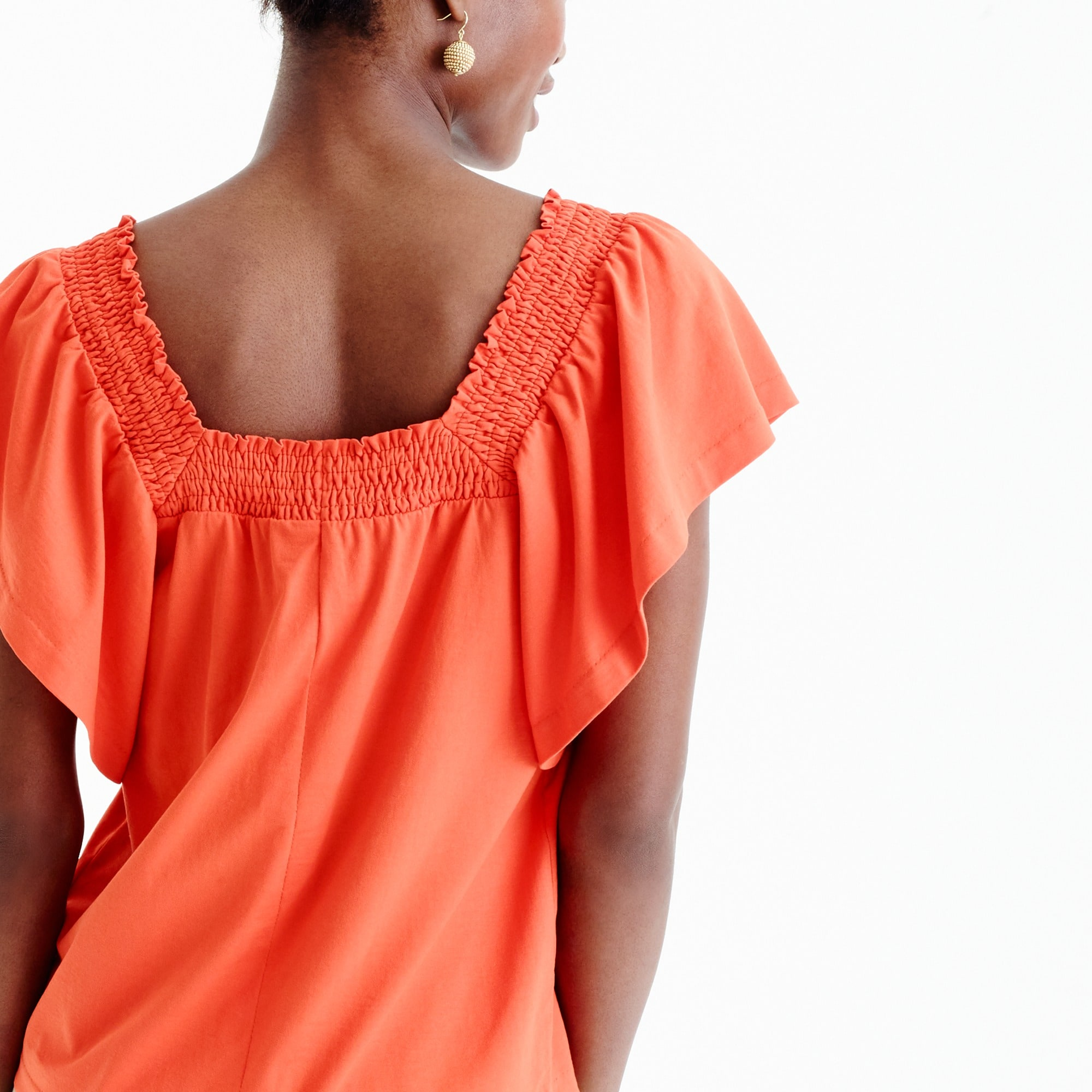 Smocked square-neck top