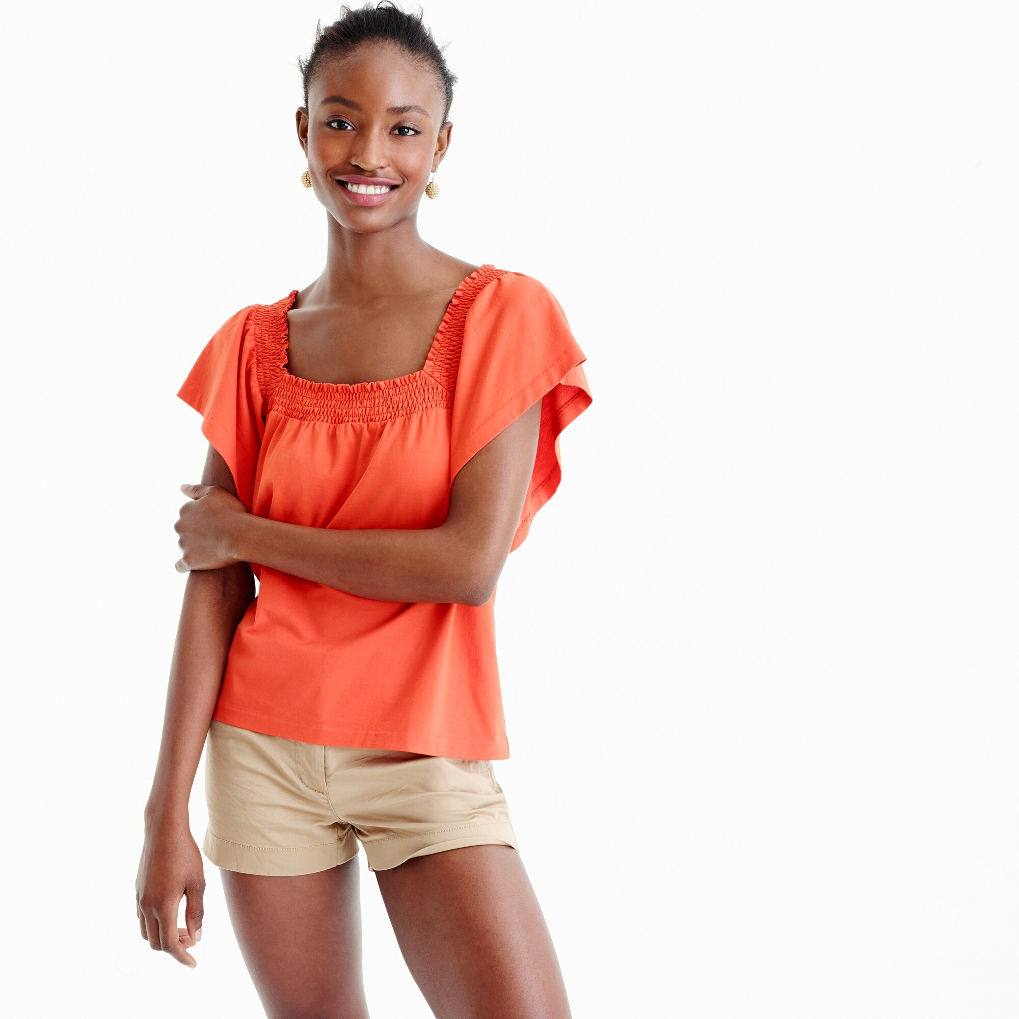 smocked square-neck top : women short sleeve