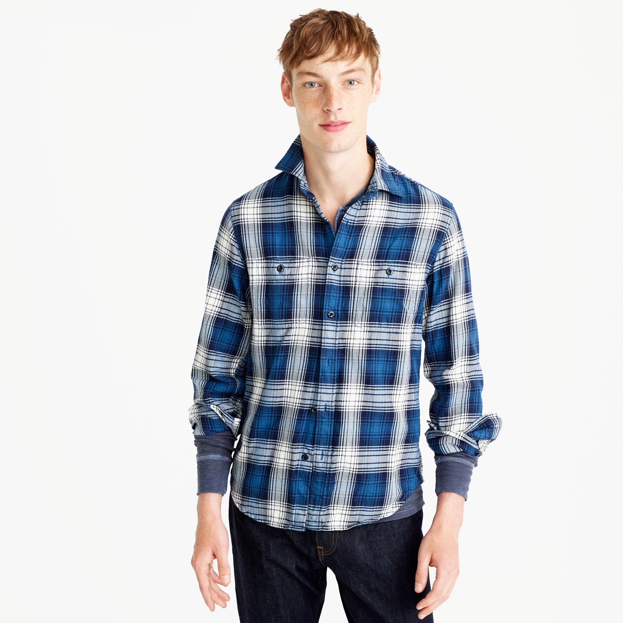 slim midweight flannel shirt in blue-and-white plaid : men shirts