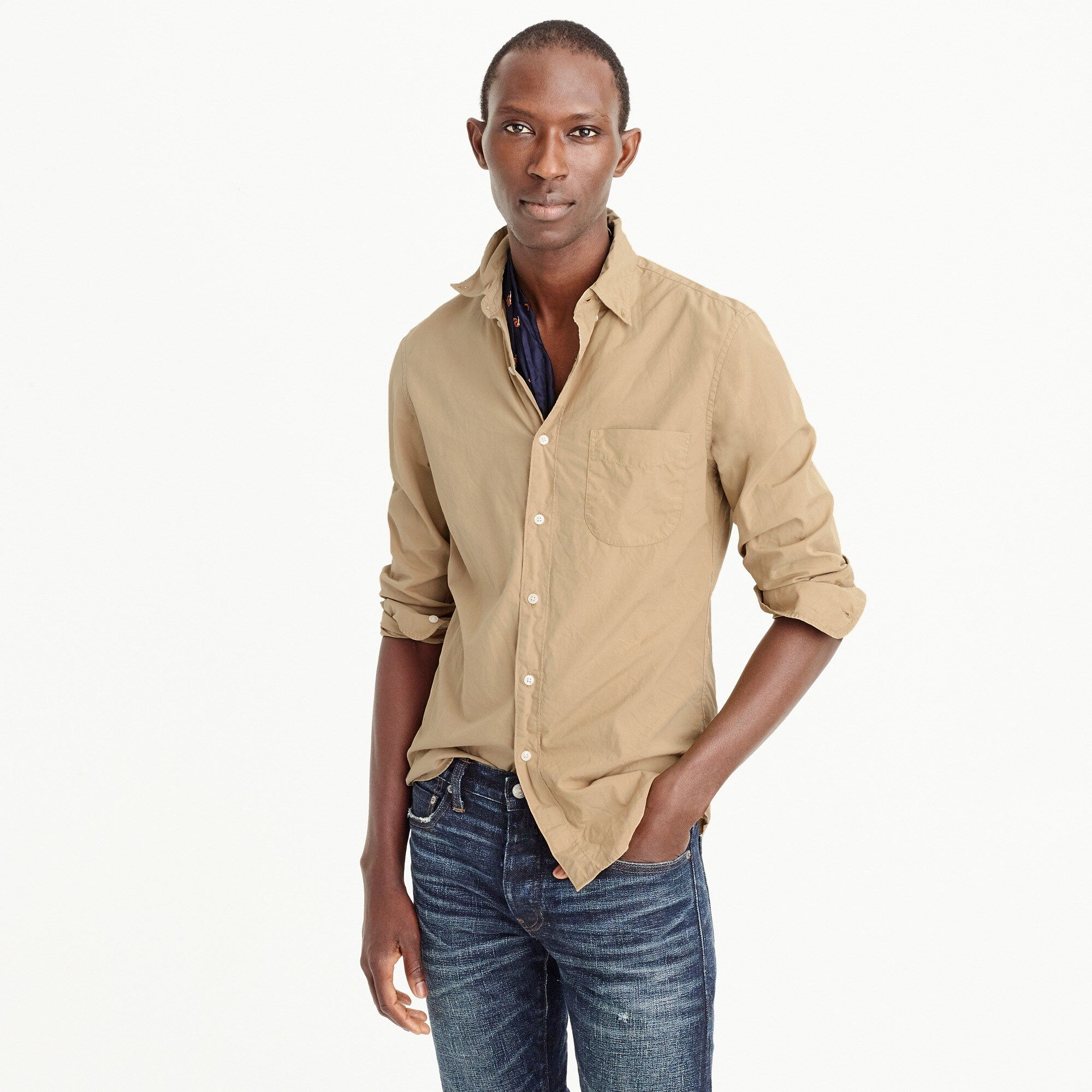 Slim garment-dyed shirt men casual shirts c