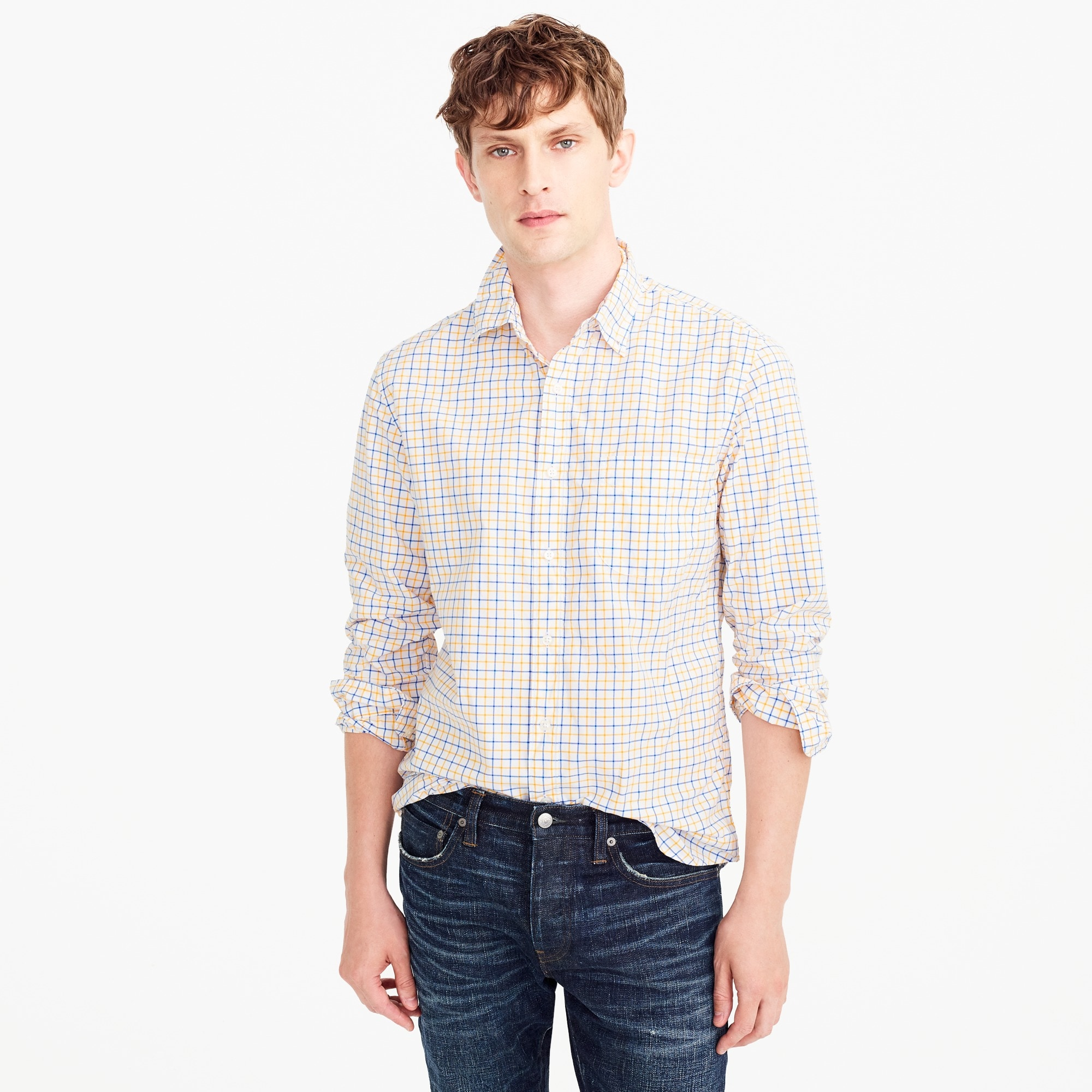 slim secret wash shirt in yellow-and-blue check : men secret wash