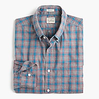 Tall heather poplin shirt in red and blue check