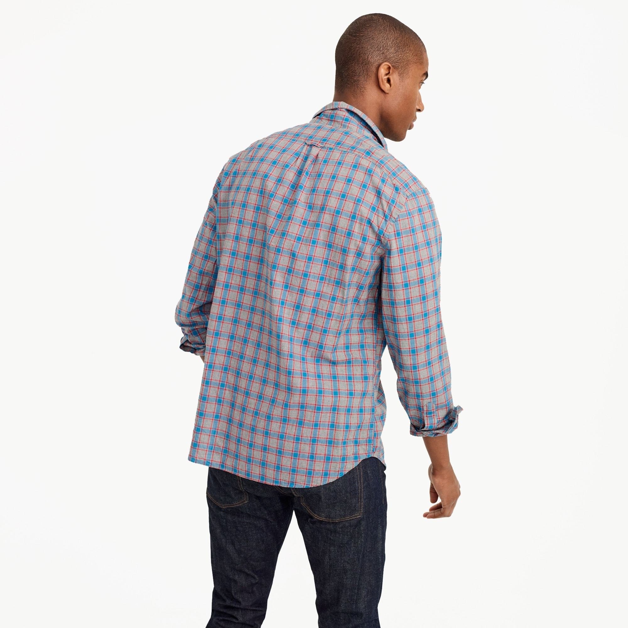 Slim heather poplin shirt in red and blue check