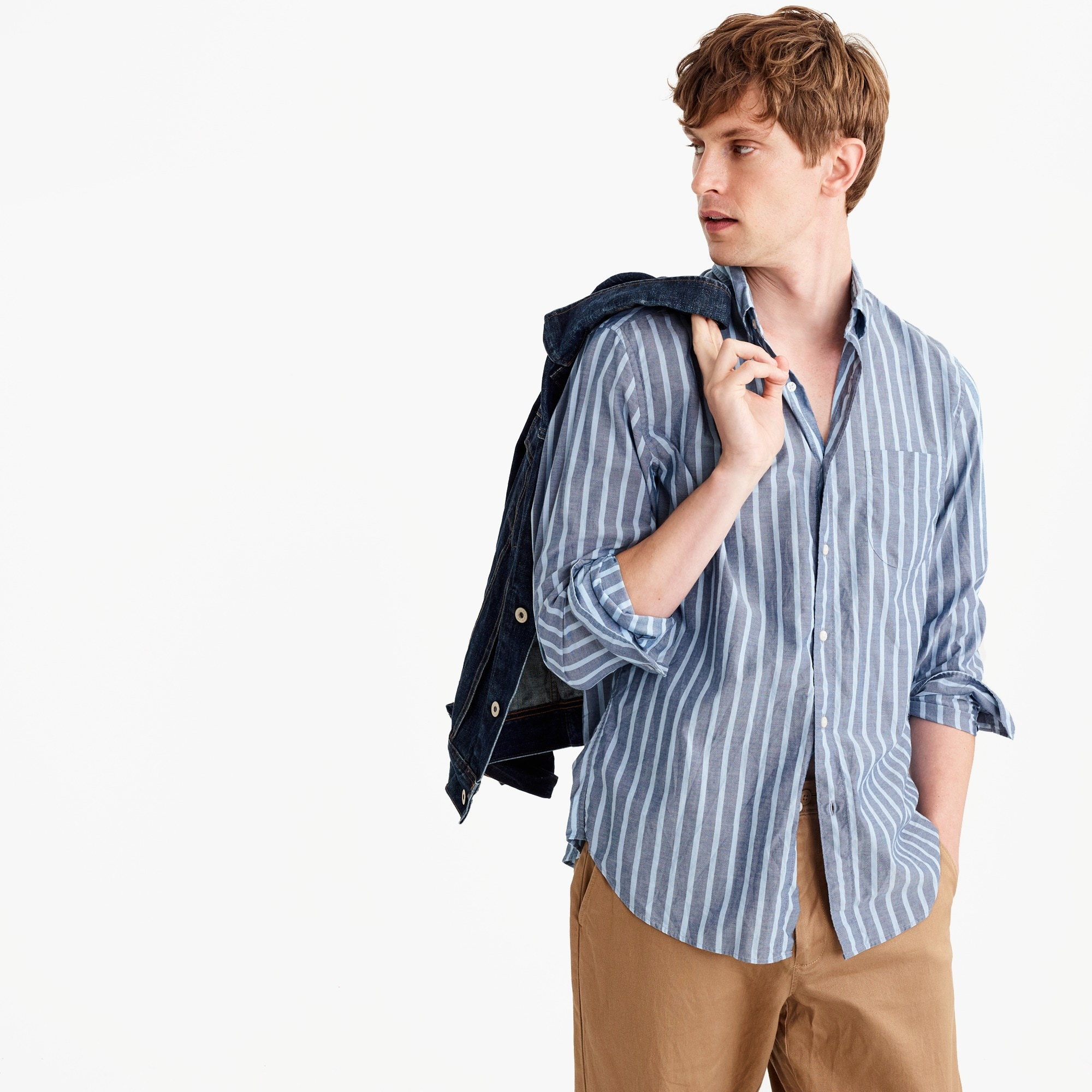 heather poplin shirt in bold stripe : men secret wash