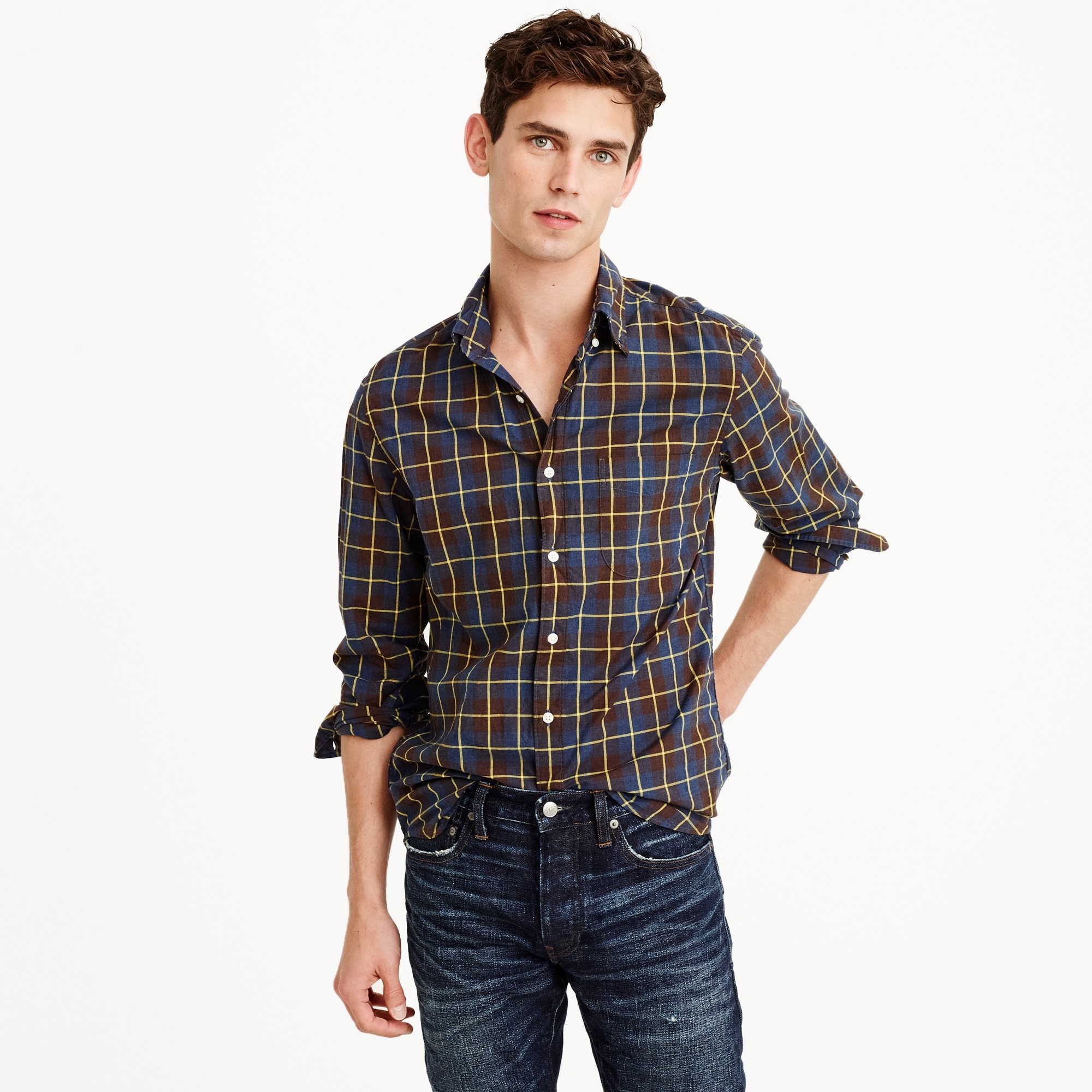 Heather poplin shirt in rustic plaid men casual shirts c