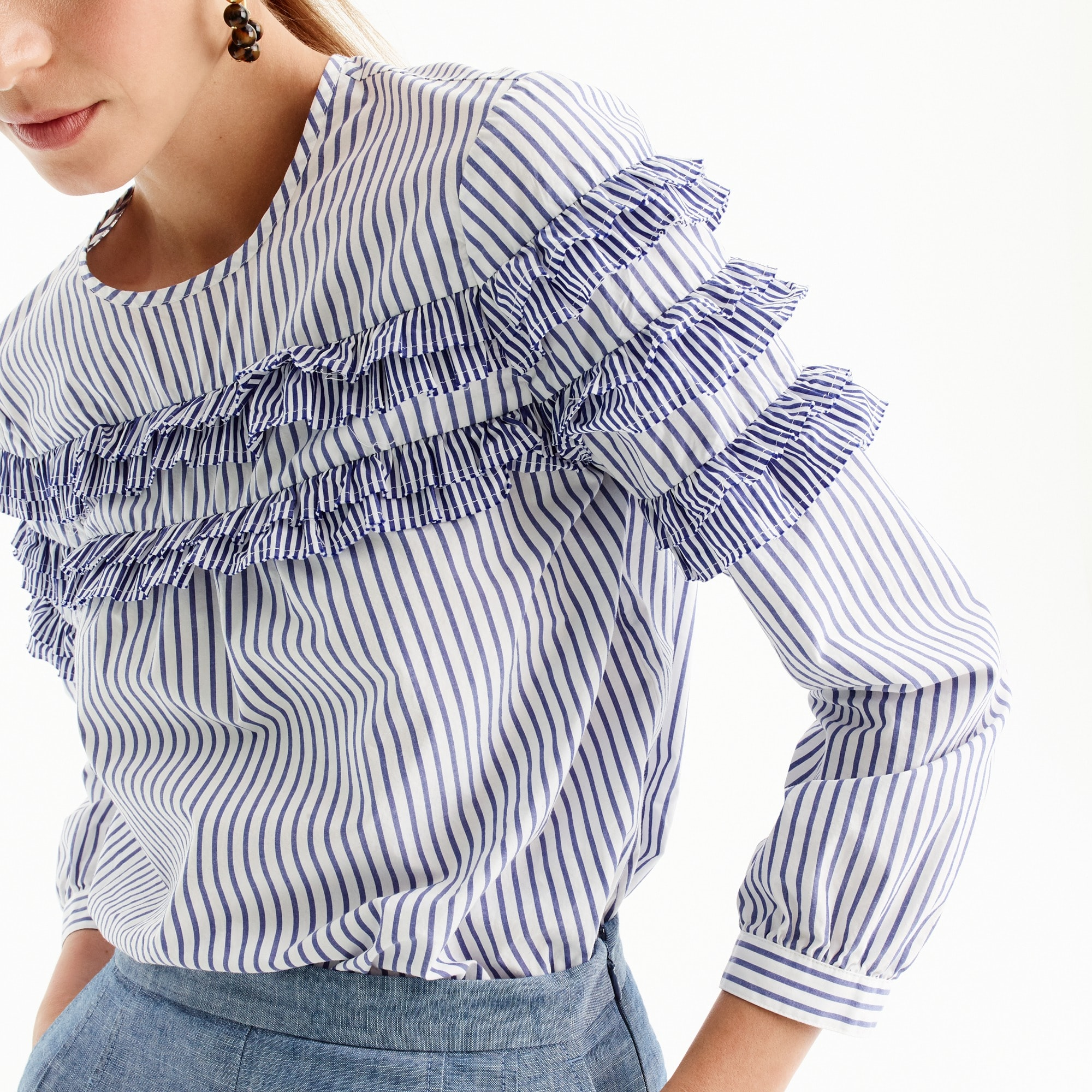 Tiered top in mixed stripes