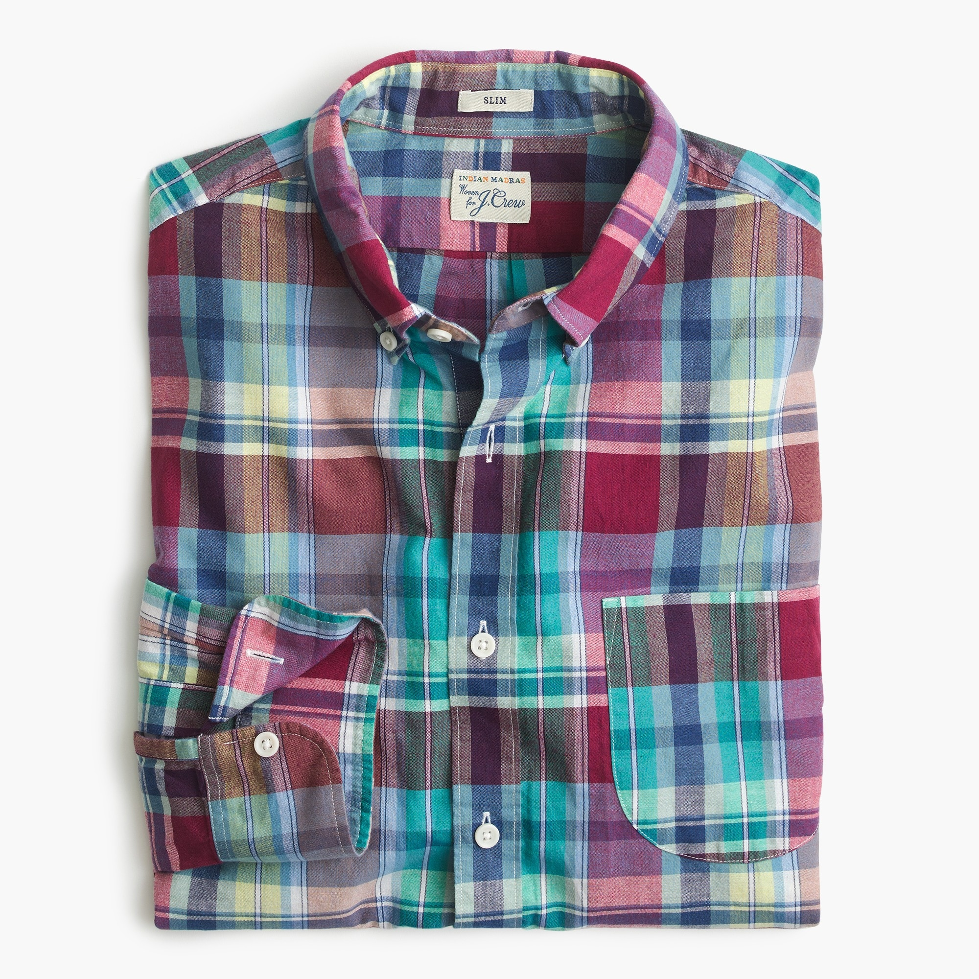 Slim Indian madras shirt in red and teal plaid