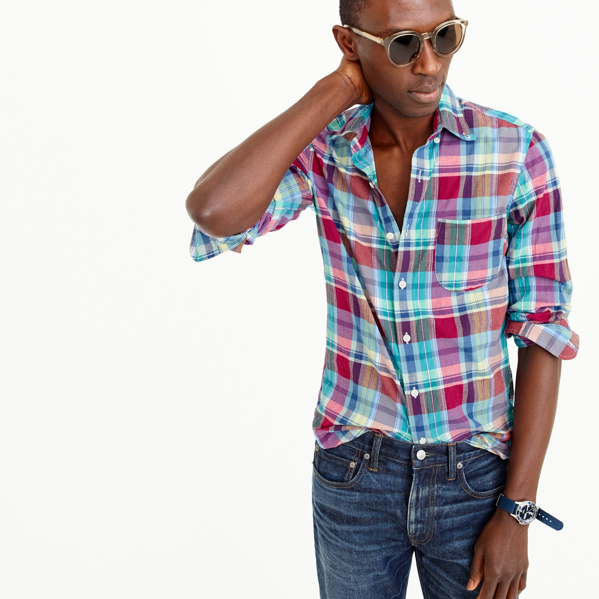 Indian madras shirt in red and teal plaid