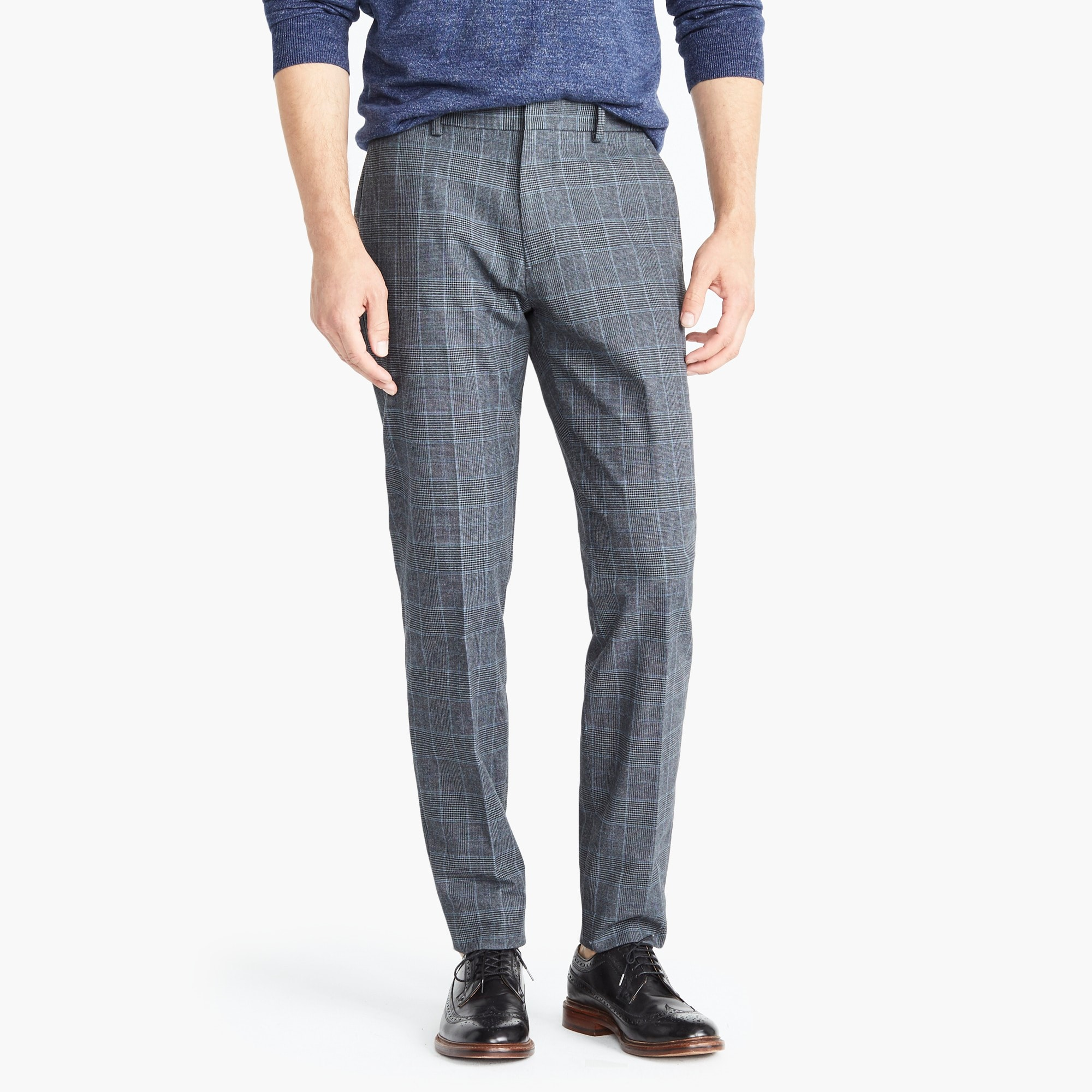 Bowery Slim-fit pant in glen plaid cotton
