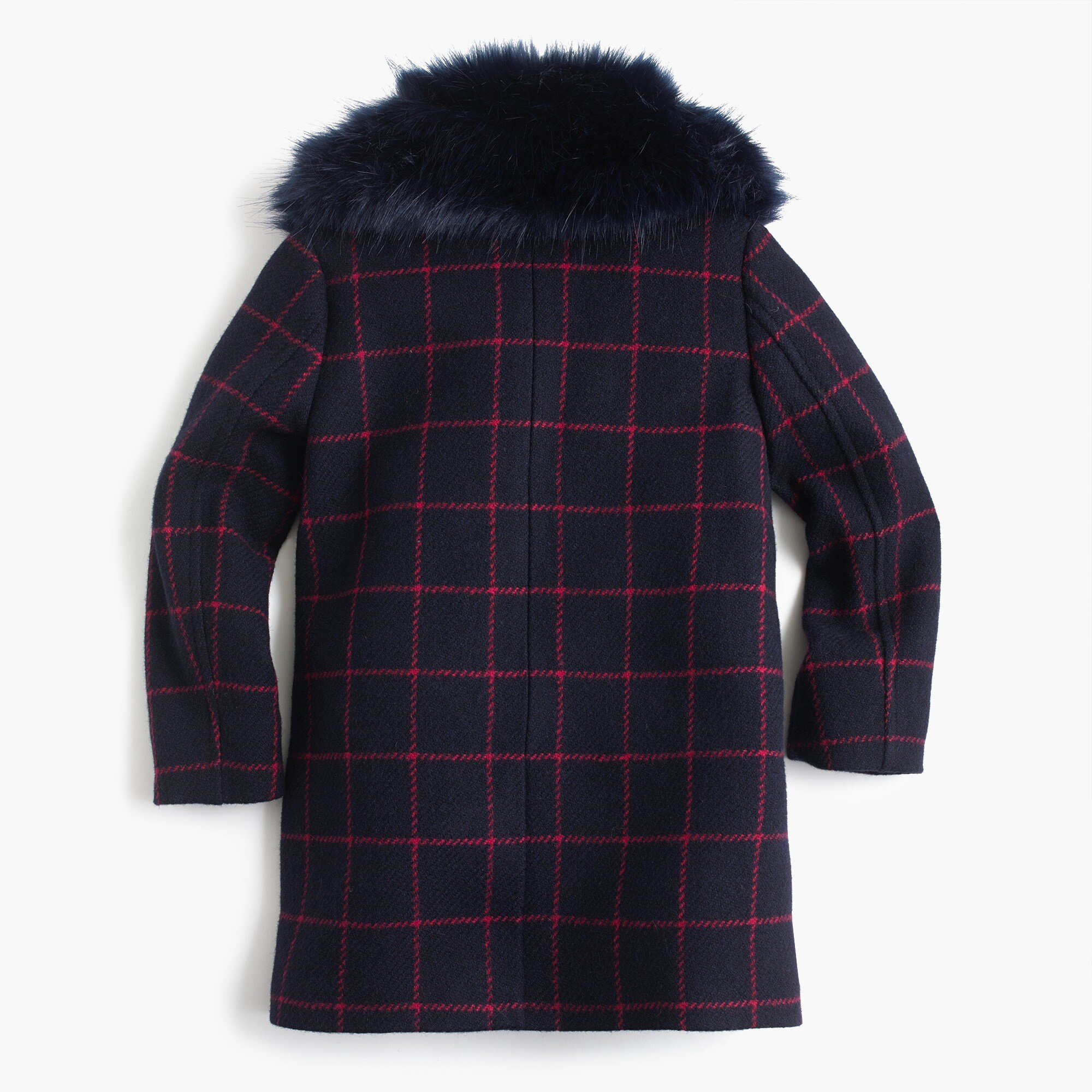 GIrls' wool coat in windowpane