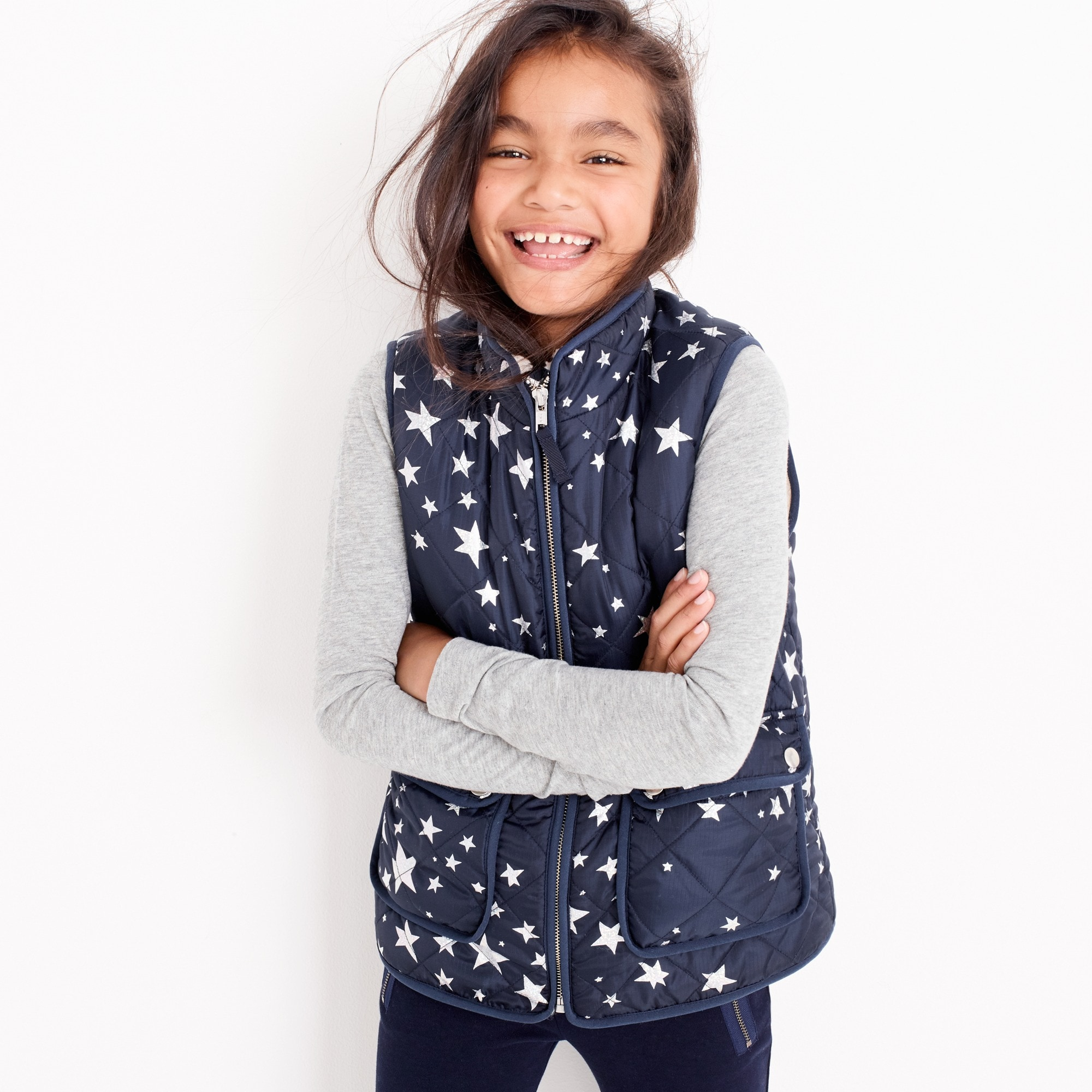 Girls' star-print puffer vest