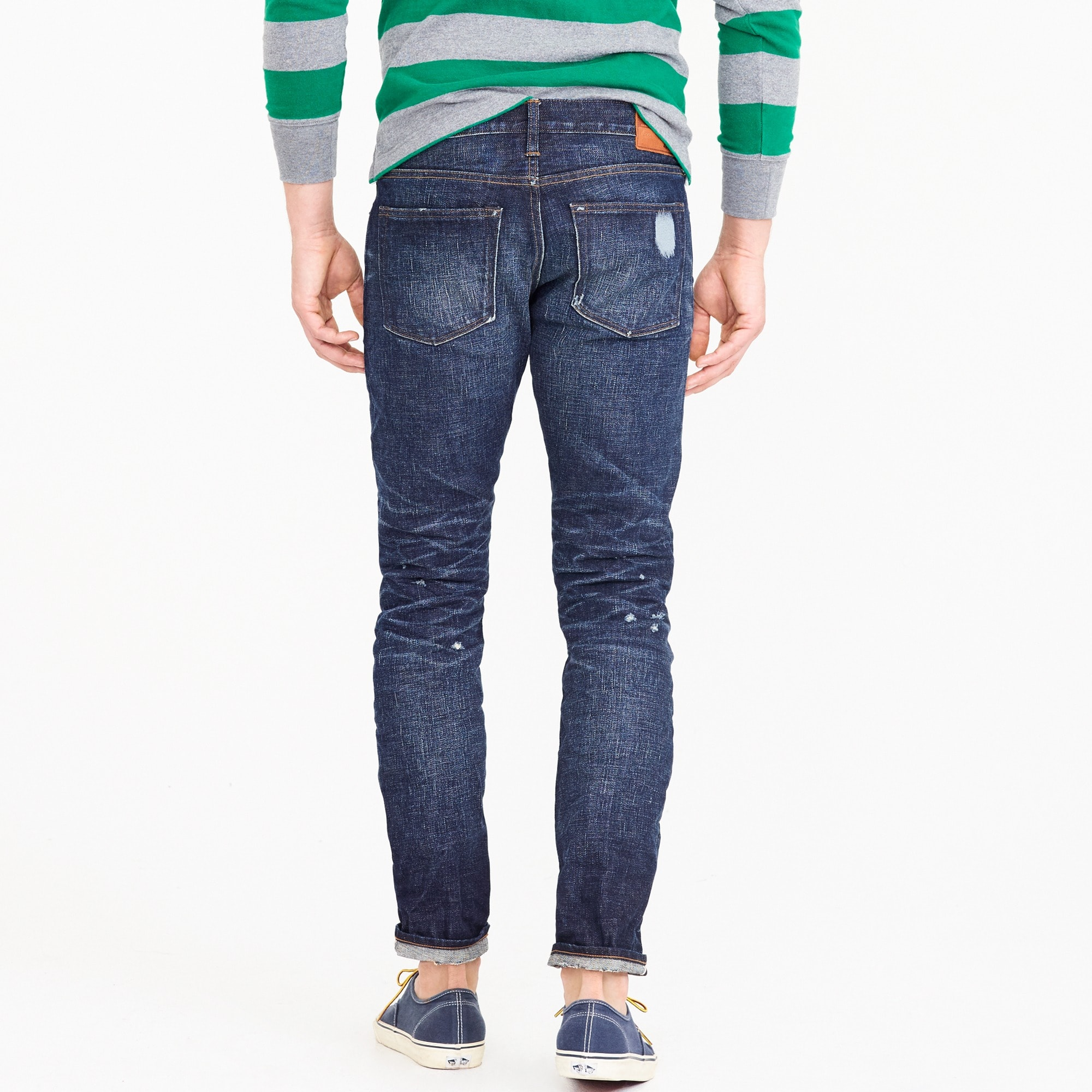 484 Slim-fit stretch jean in washed selvedge