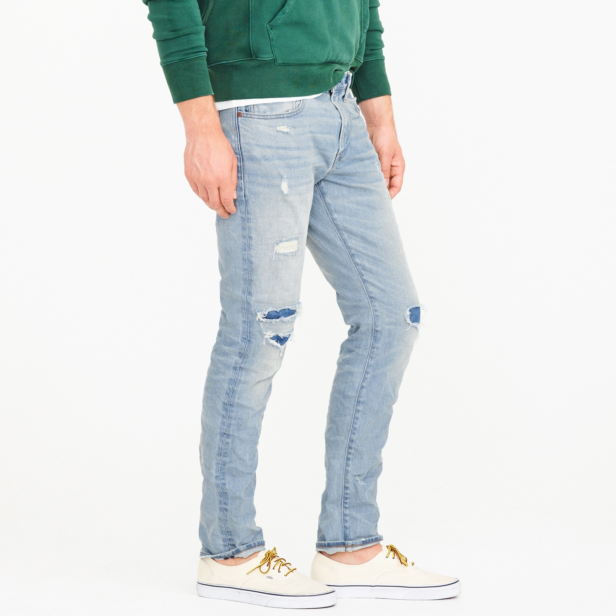 484 Slim-fit stretch jean in distressed patchwork