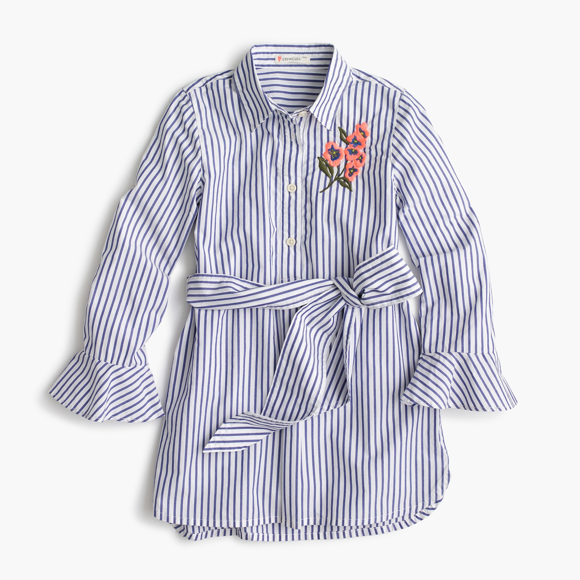 Girls' striped flower-embroidered tunic