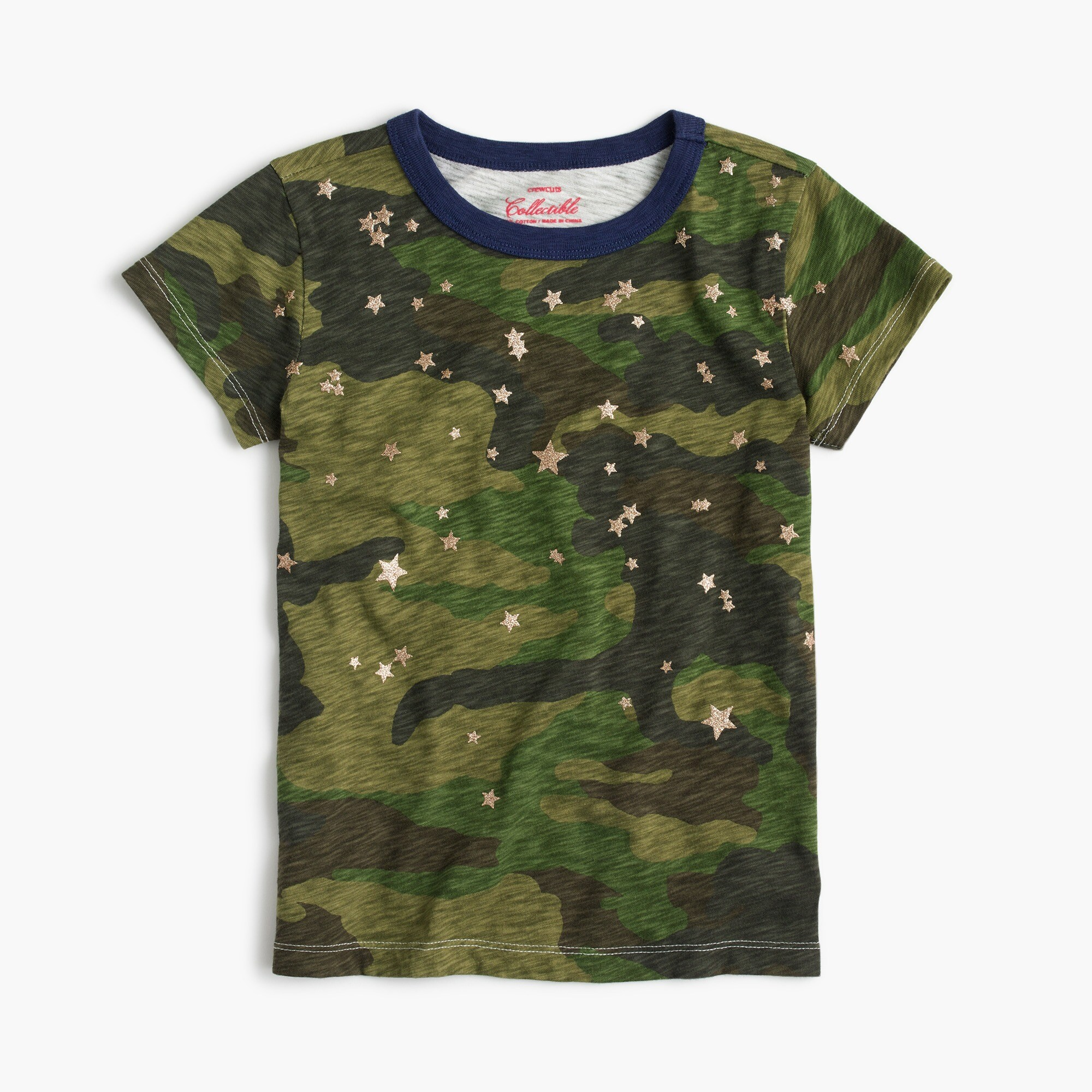 Girls' camo stars T-shirt
