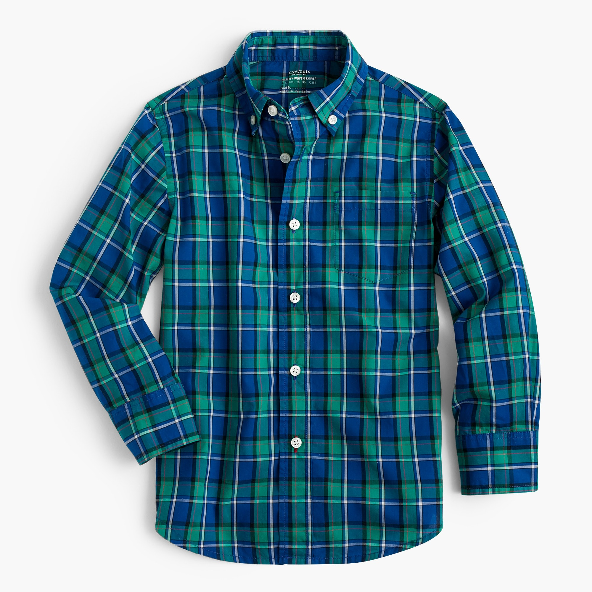 Kids' Secret Wash shirt in cobalt plaid