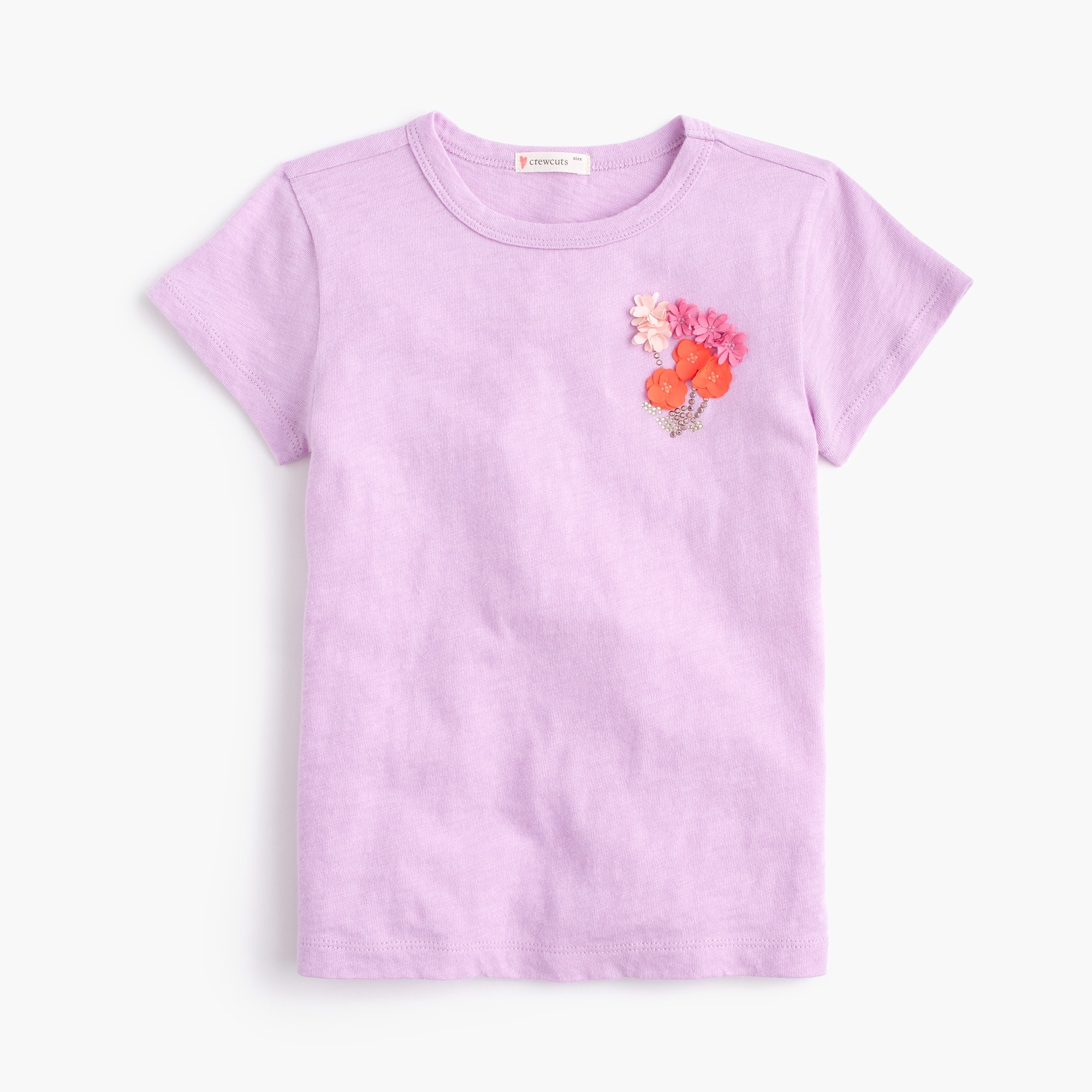 girls' embellished flower t-shirt : girl short-sleeve t-shirts