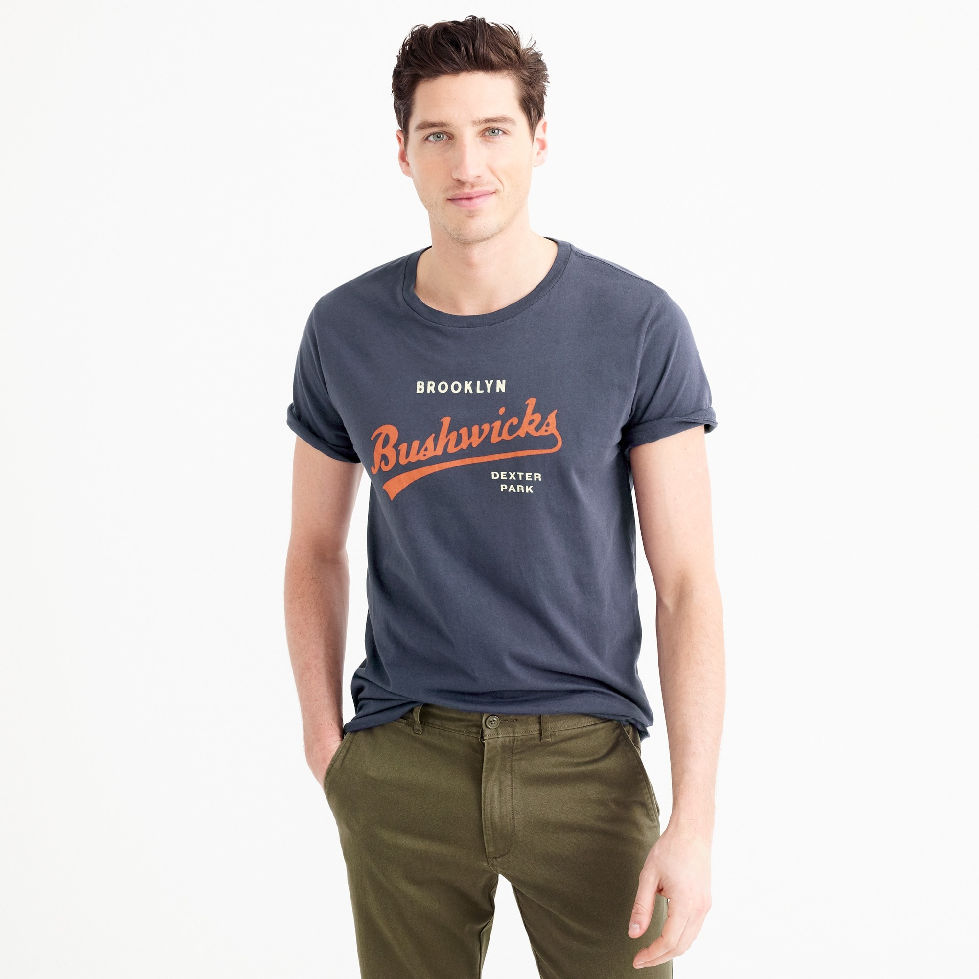 ebbets field flannels® for j.crew brooklyn bushwicks t-shirt : men j.crew in good company