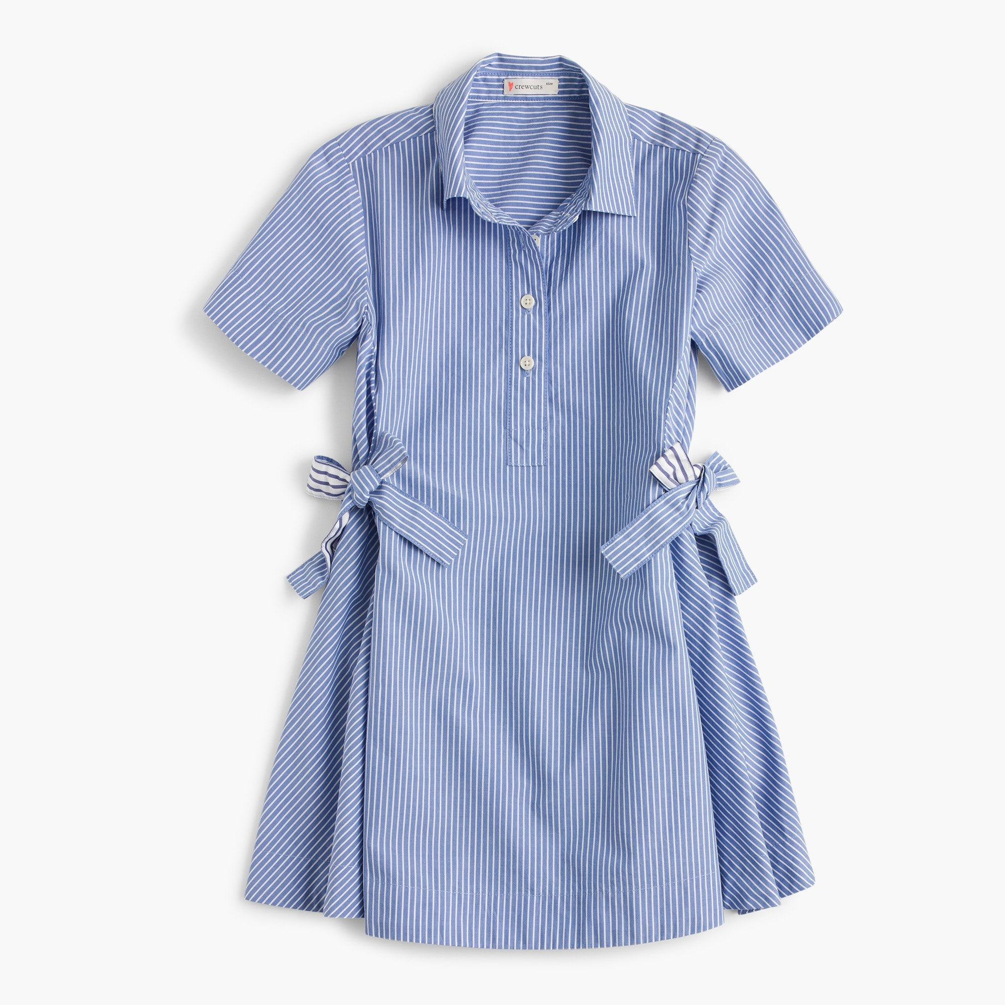 Girls' side tie shirtdress in mixed stripes