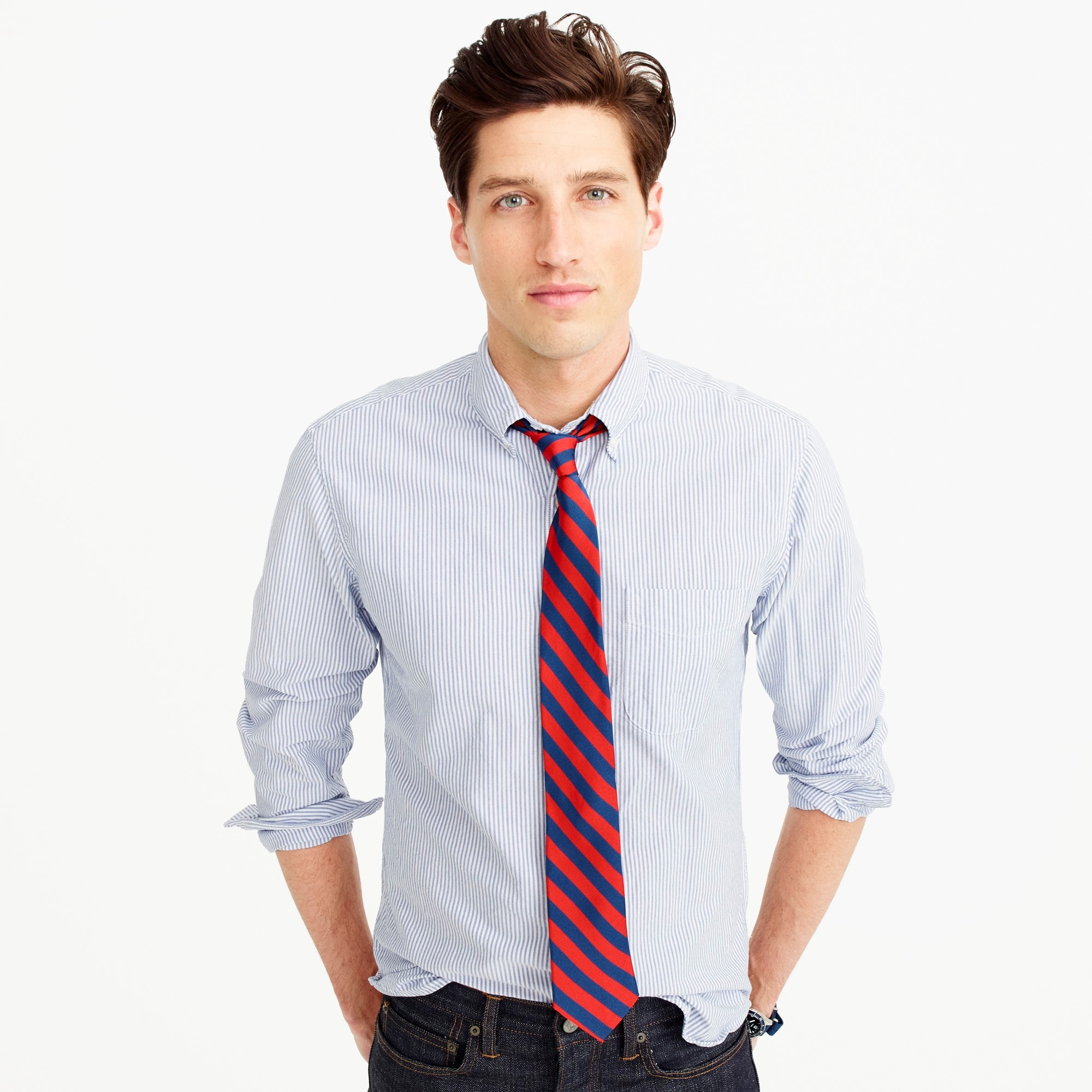 Slim American Pima cotton oxford shirt in stripe