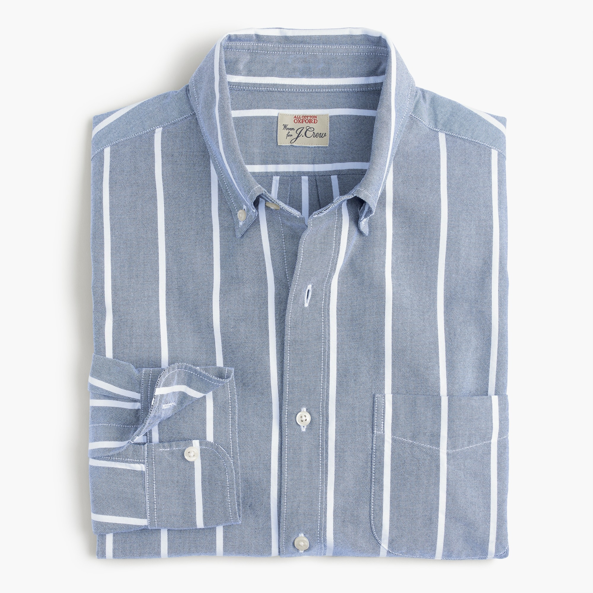 Slim American Pima cotton oxford shirt in wide stripe