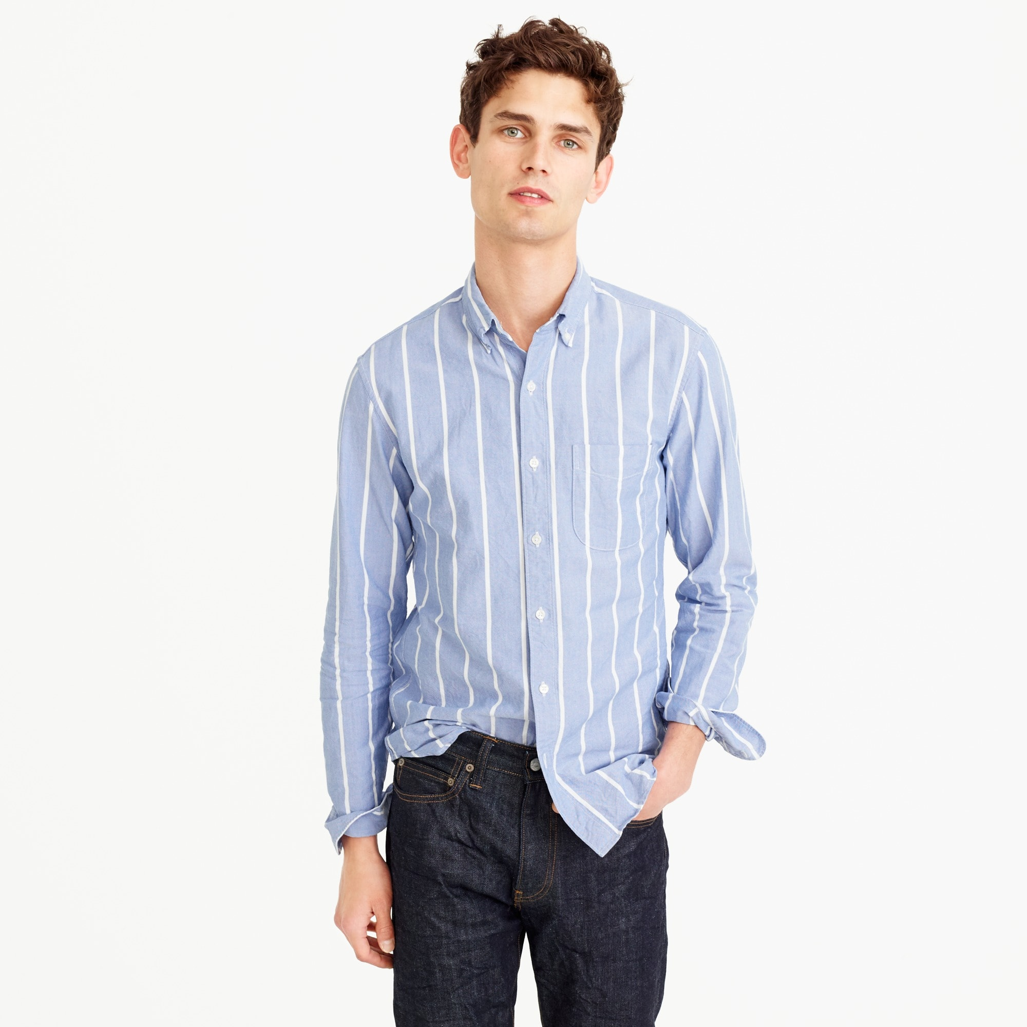 Tall American Pima cotton oxford shirt in wide stripe
