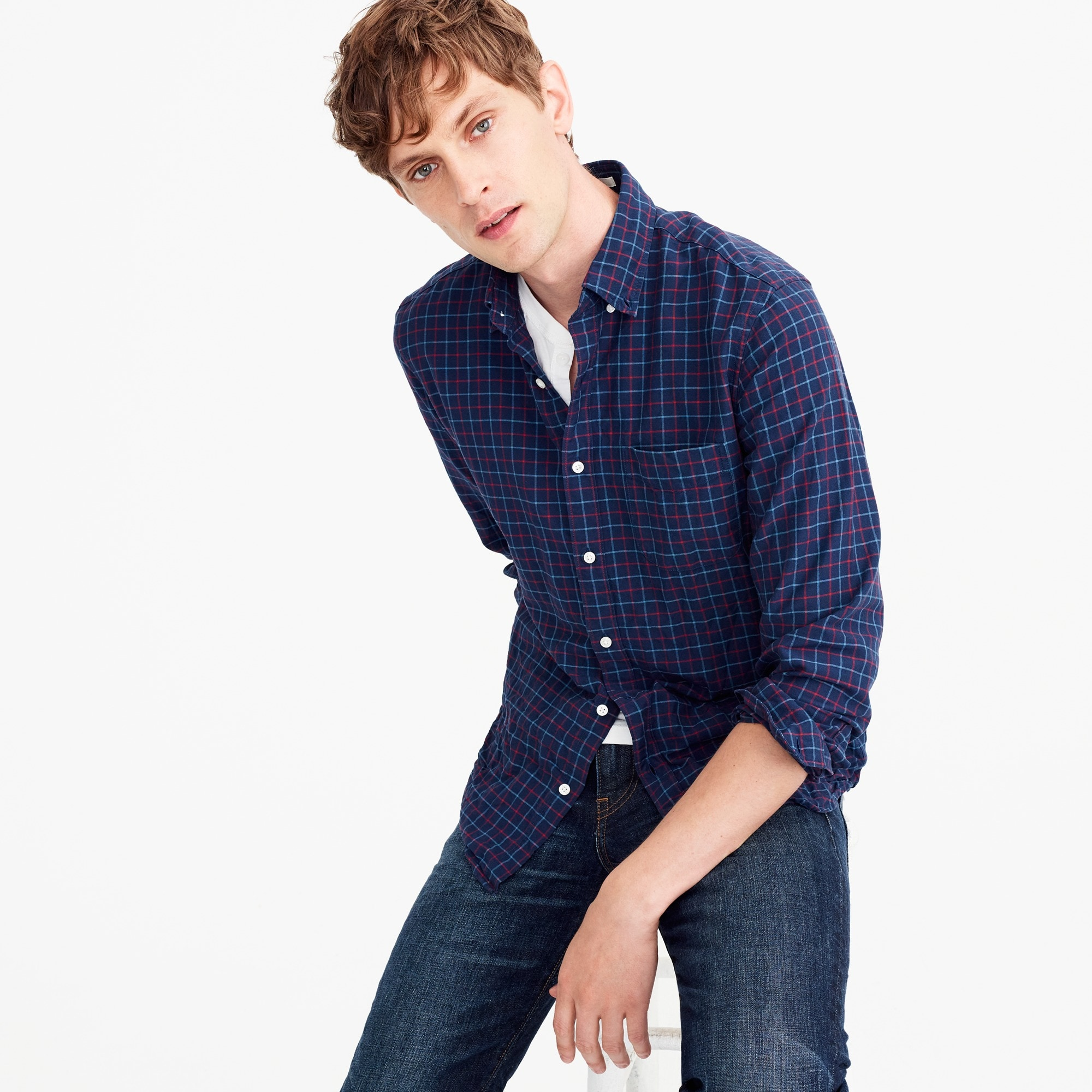 Slim American Pima cotton oxford shirt in tattersall