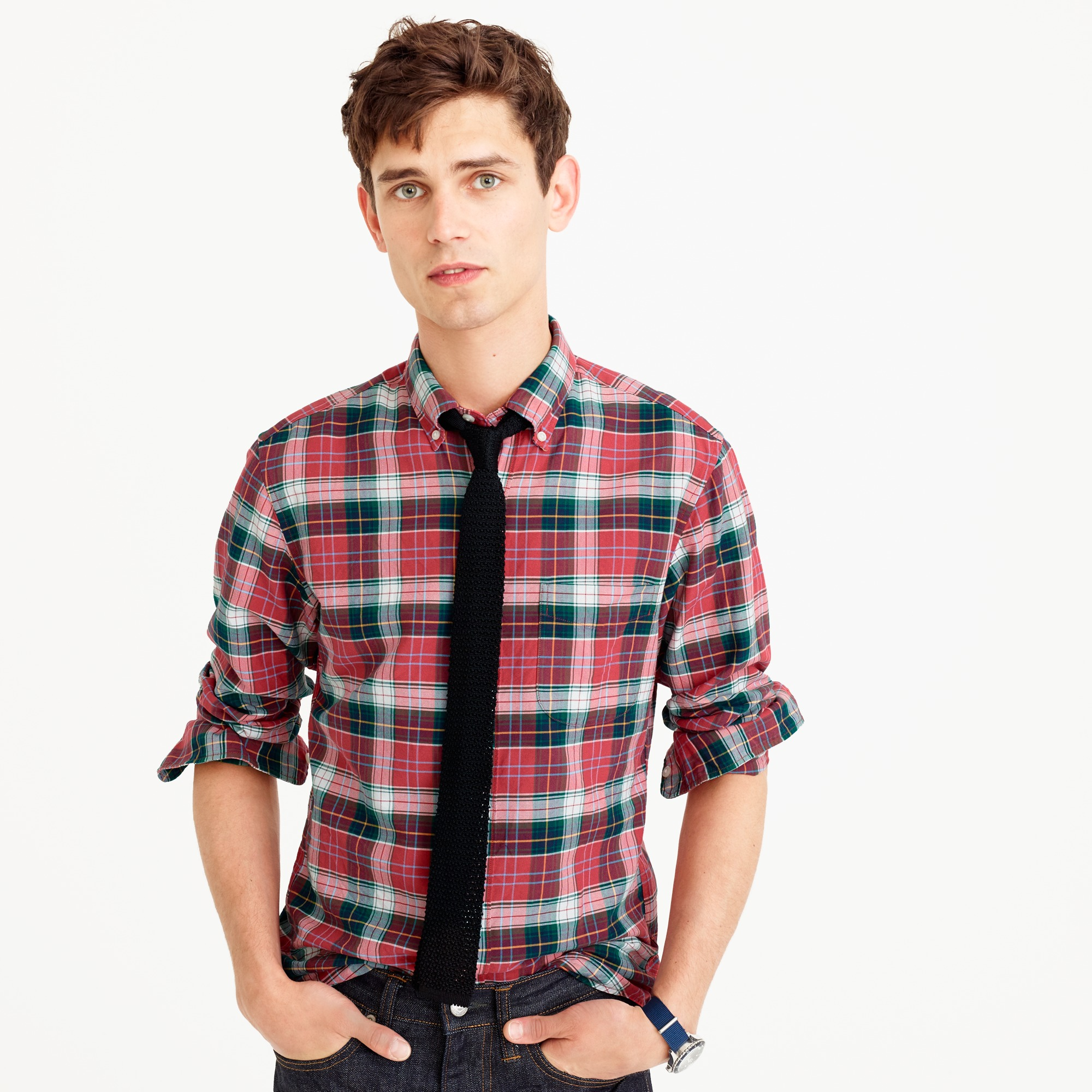 Slim American Pima cotton oxford shirt in red plaid men casual shirts c