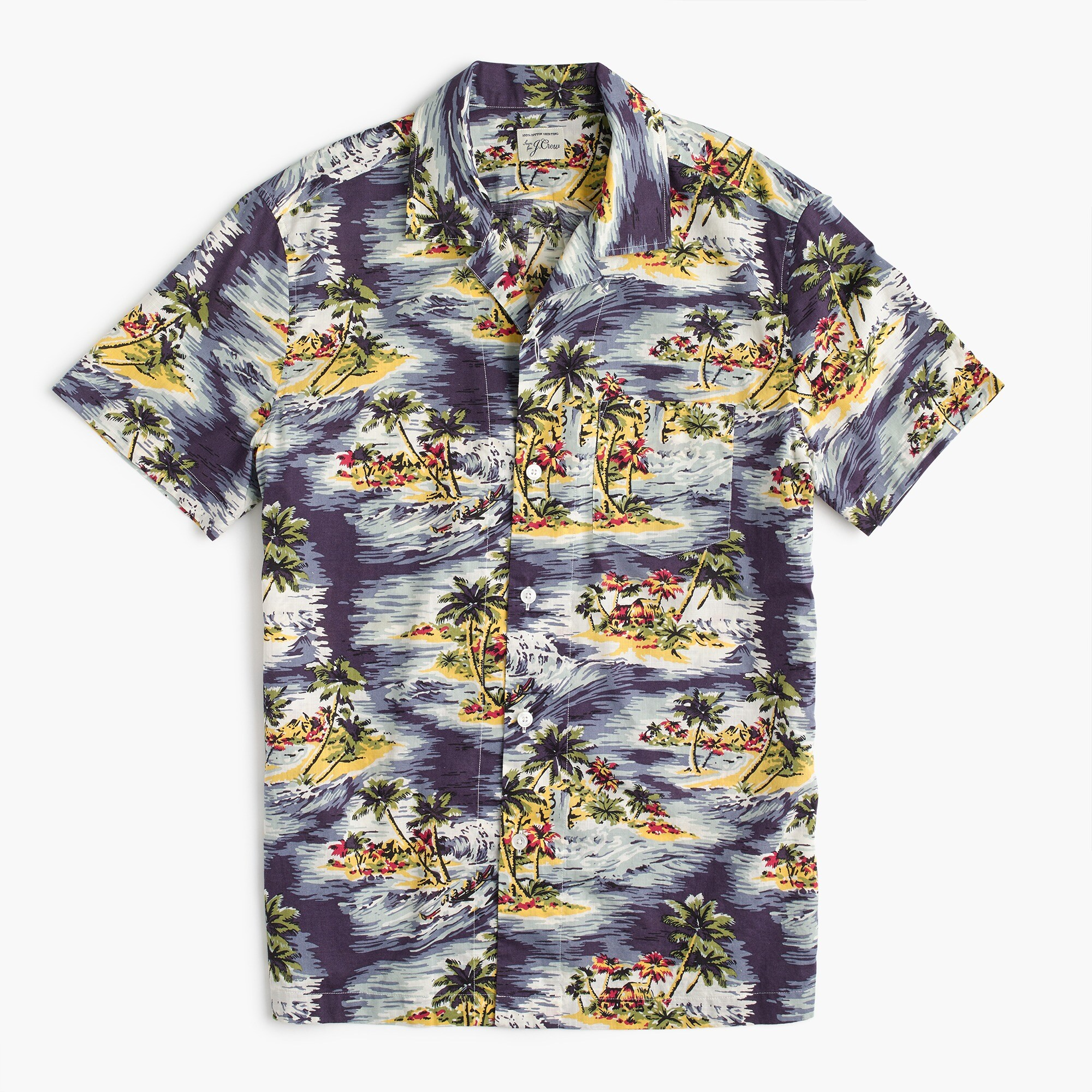 Image 2 for Short-sleeve camp-collar shirt in wave print