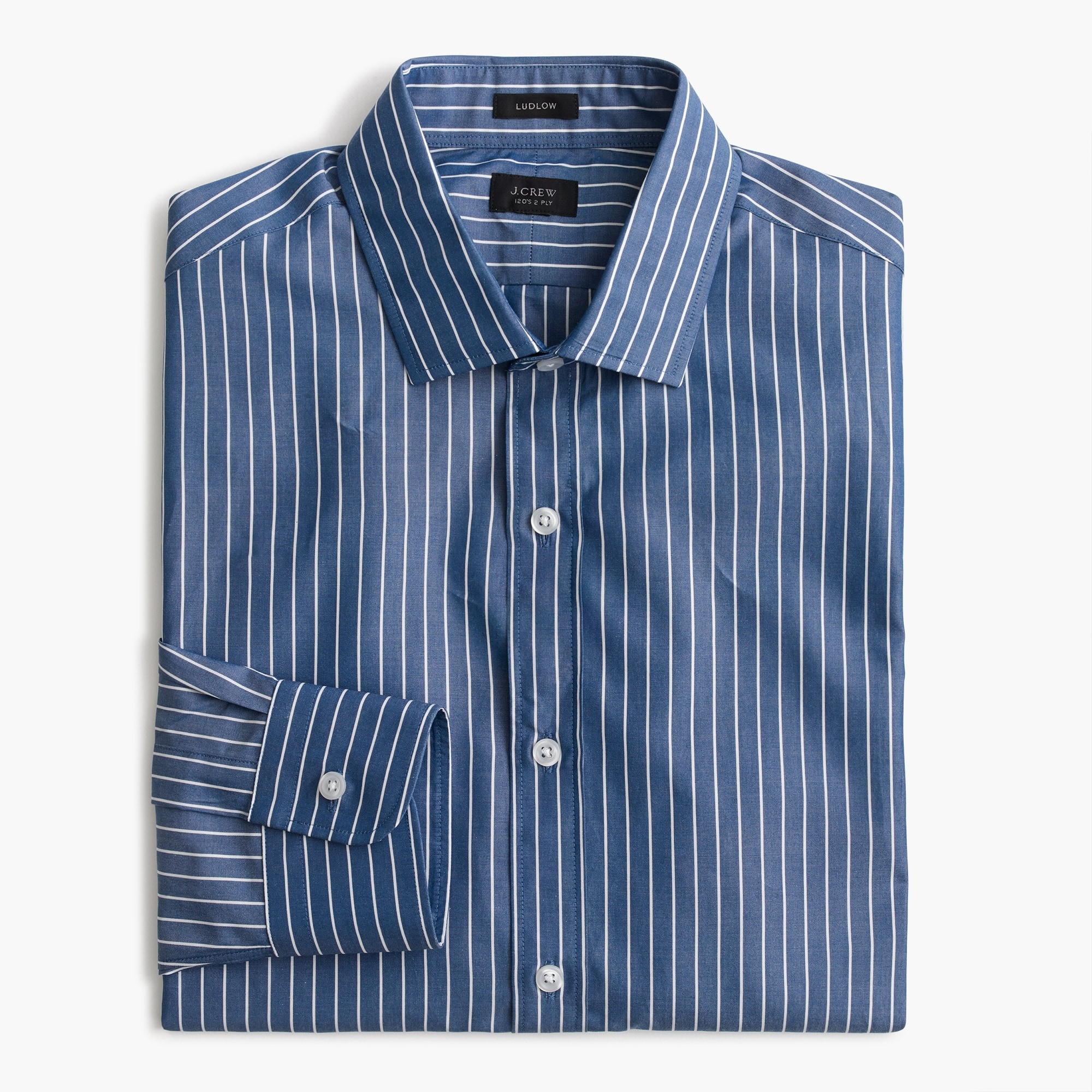 Ludlow Slim-fit shirt in blue and white stripe