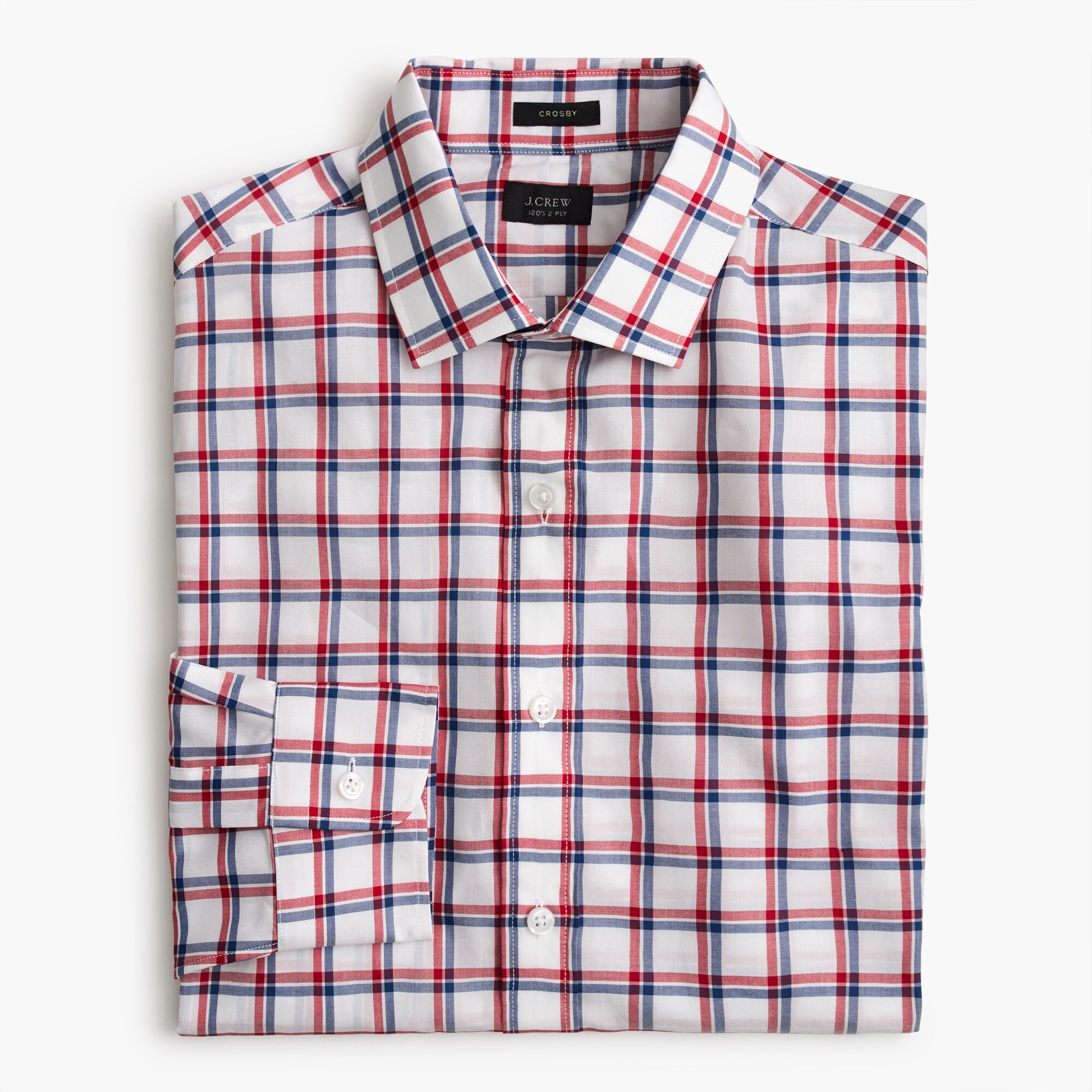 Crosby Classic-fit shirt in red and blue tattersall