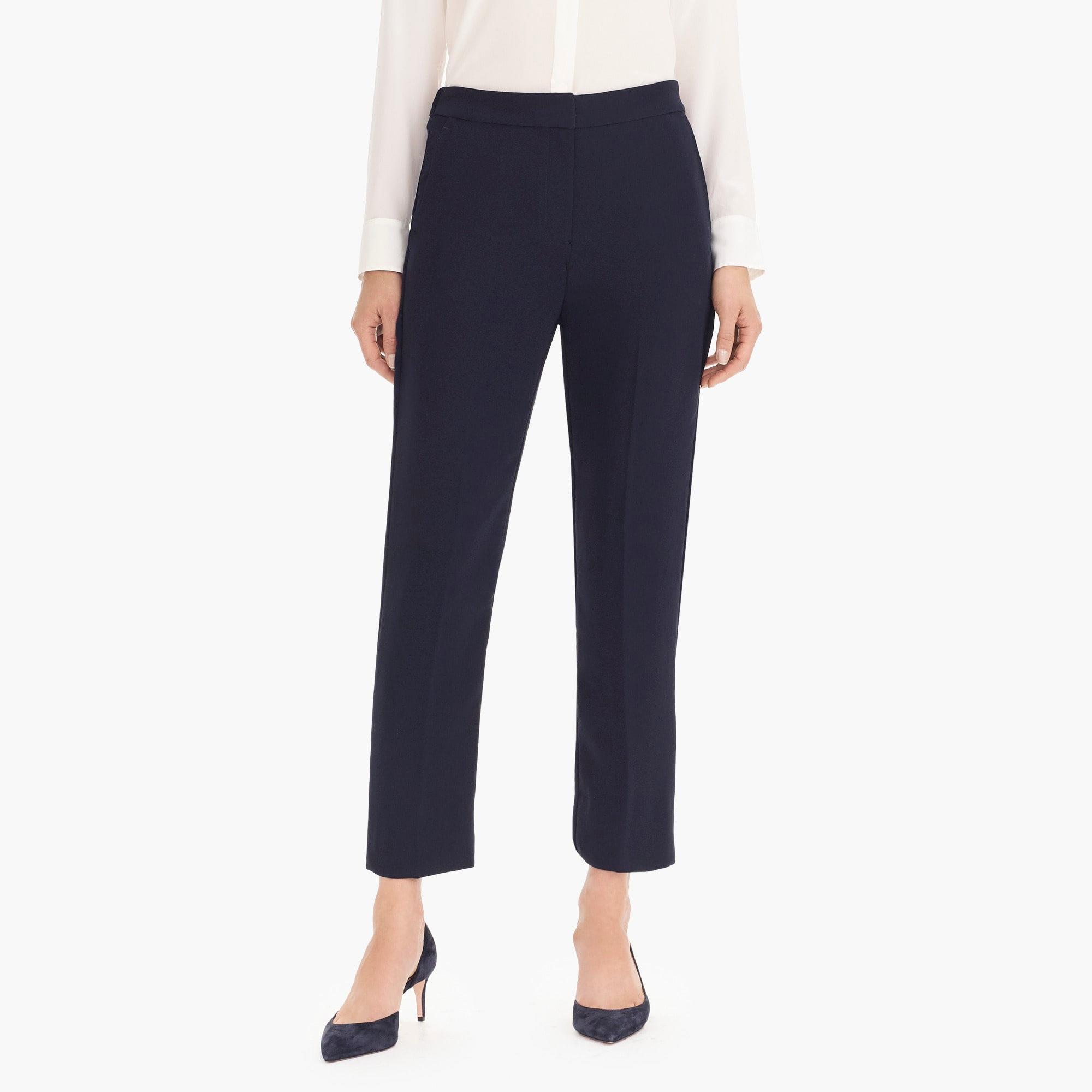 Pull-on easy pant in matte crepe women suiting c