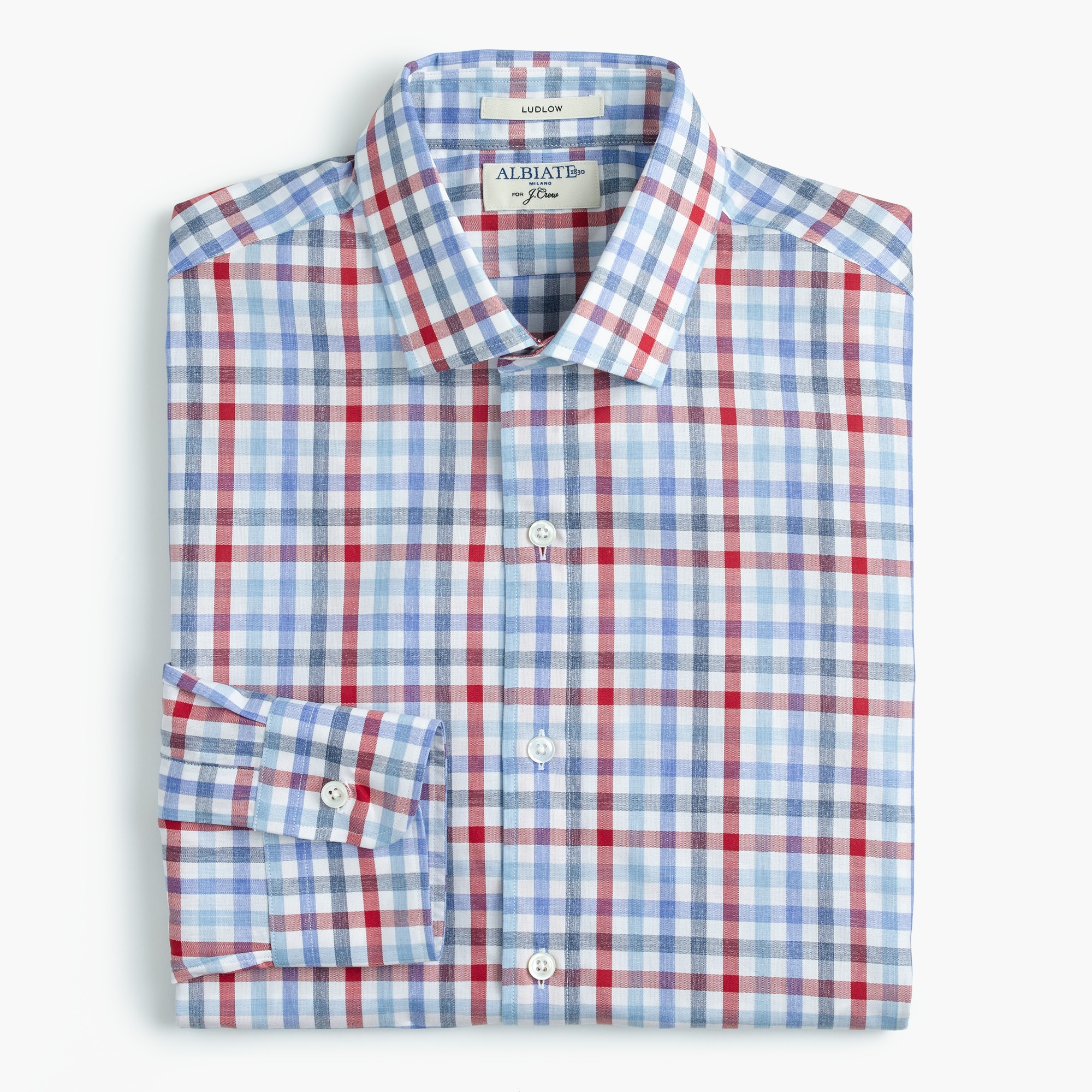 Albiate 1830 for J.Crew Ludlow Slim-fit spread-collar shirt in tattersall