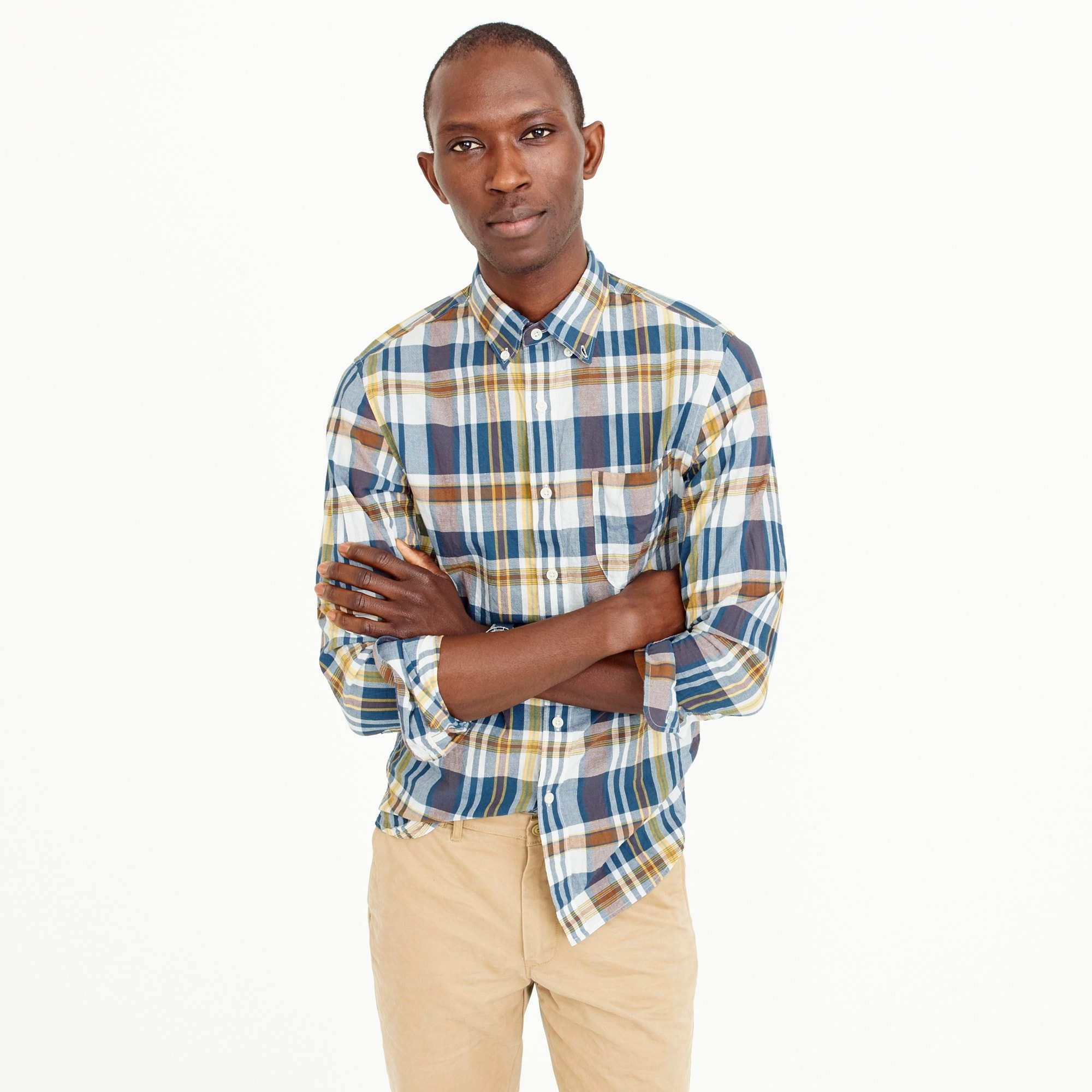 Slim Indian madras shirt in sea salt plaid