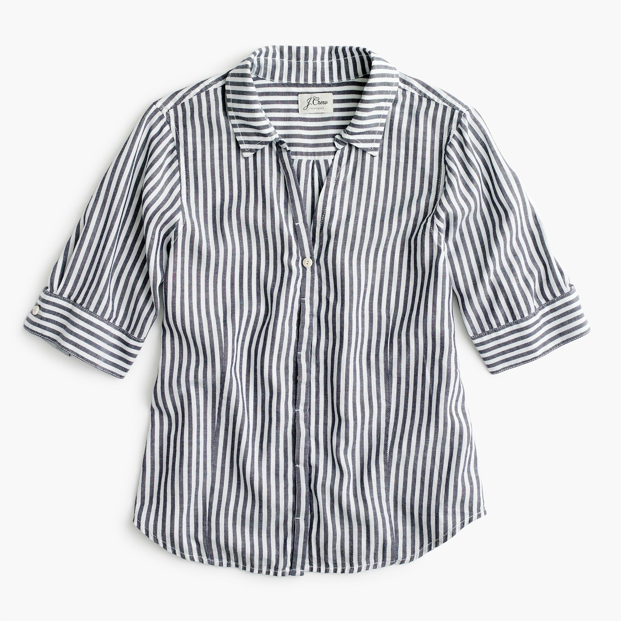 Petite short-sleeve button-up shirt in stripe