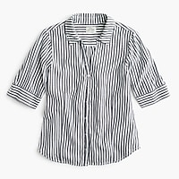 Tall striped short-sleeve button-up shirt